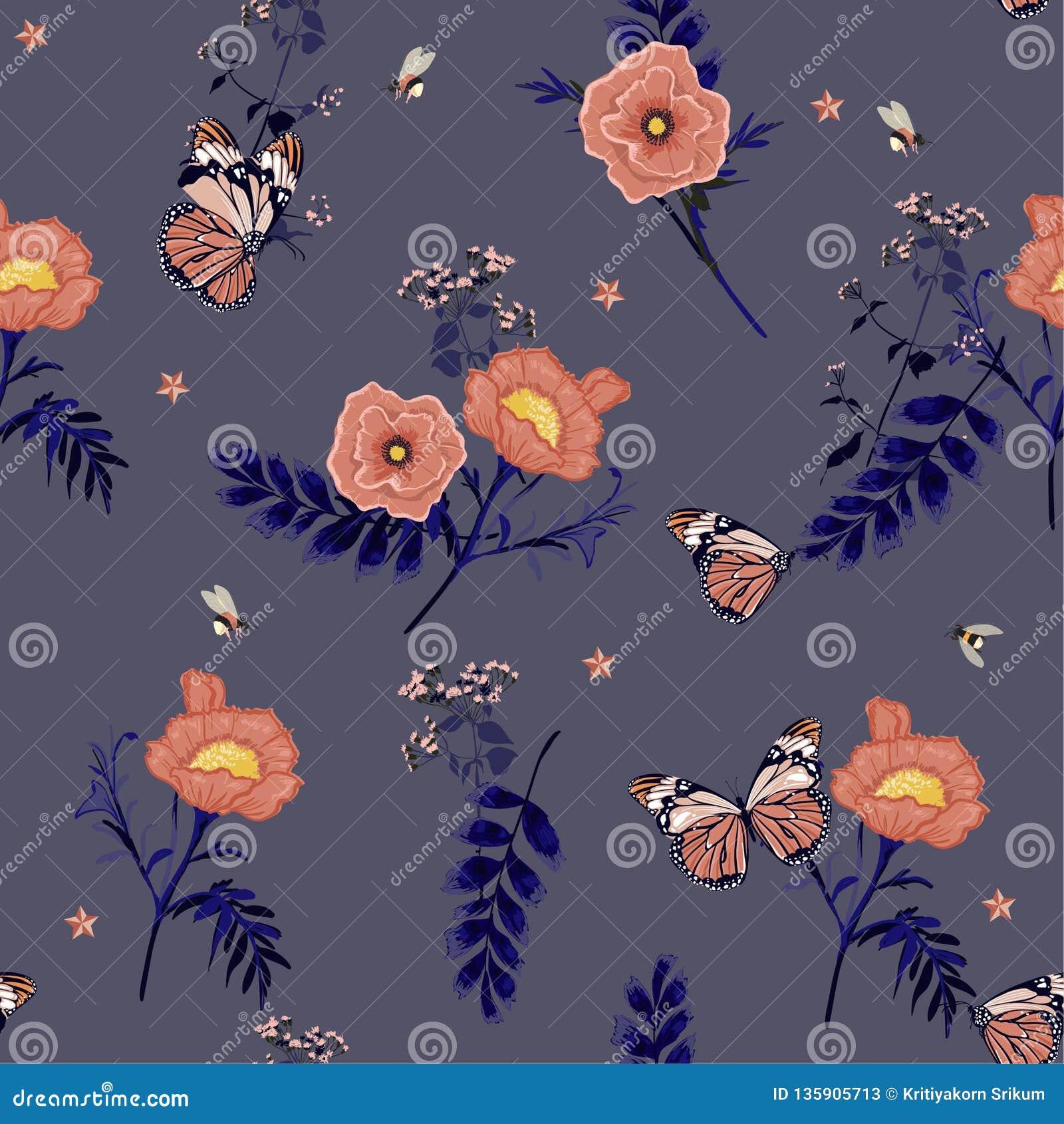 Цветки флористических ретро весны иллюстрации романтичной зацветая розовые, dilicate ботанические с бабочкой и пчелы конструируют