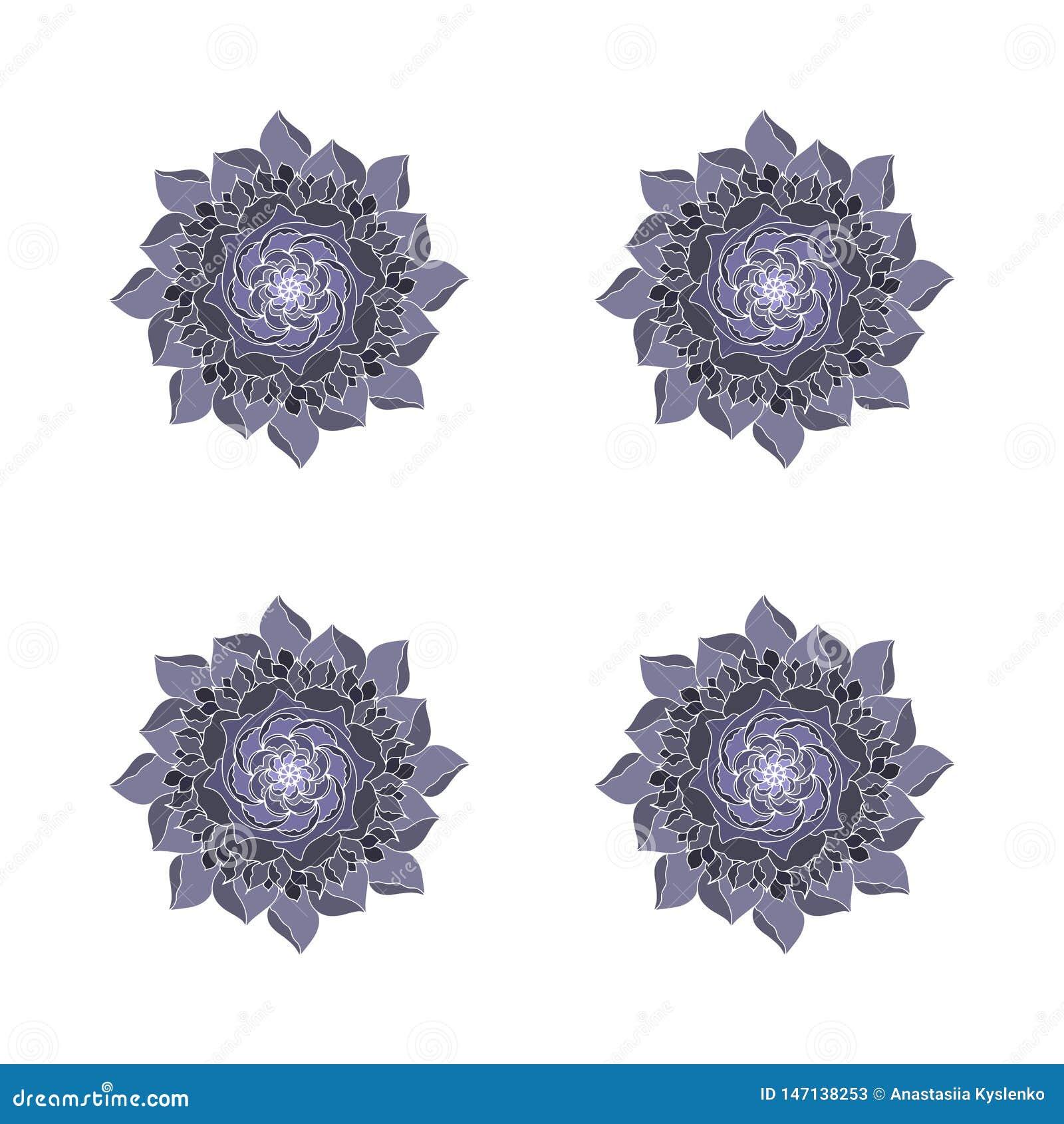 Цветок серого цвета черный поднял завод логотипа концепции вектора органический Элемент ретро весны или дизайна лета флористическ