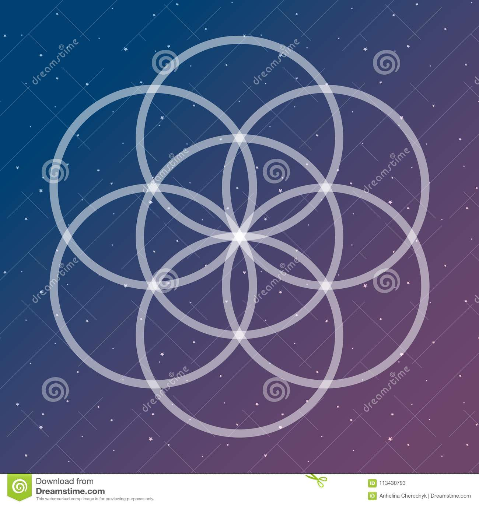 Цветок символа жизни на космический блокировать объезжает sac космоса