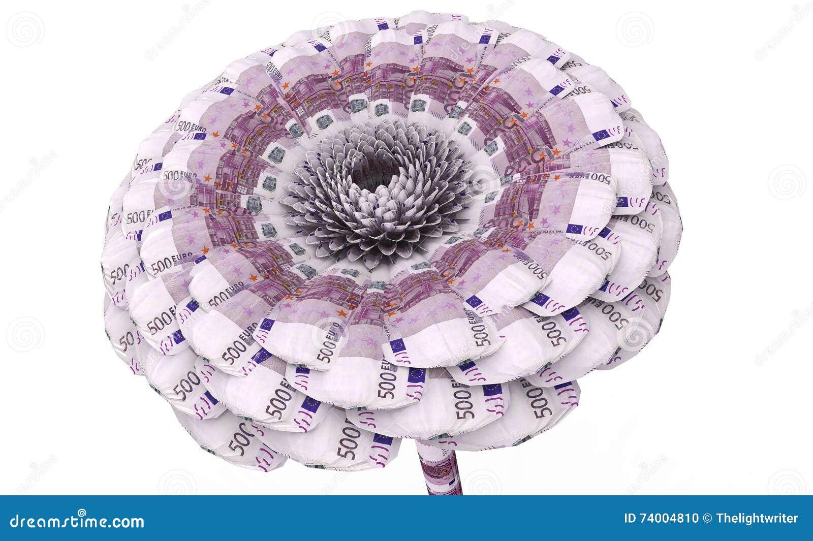 Цветок сделанный из банкнот евро