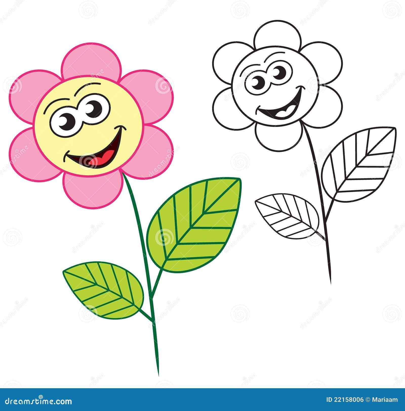 цветок шаржа счастливый