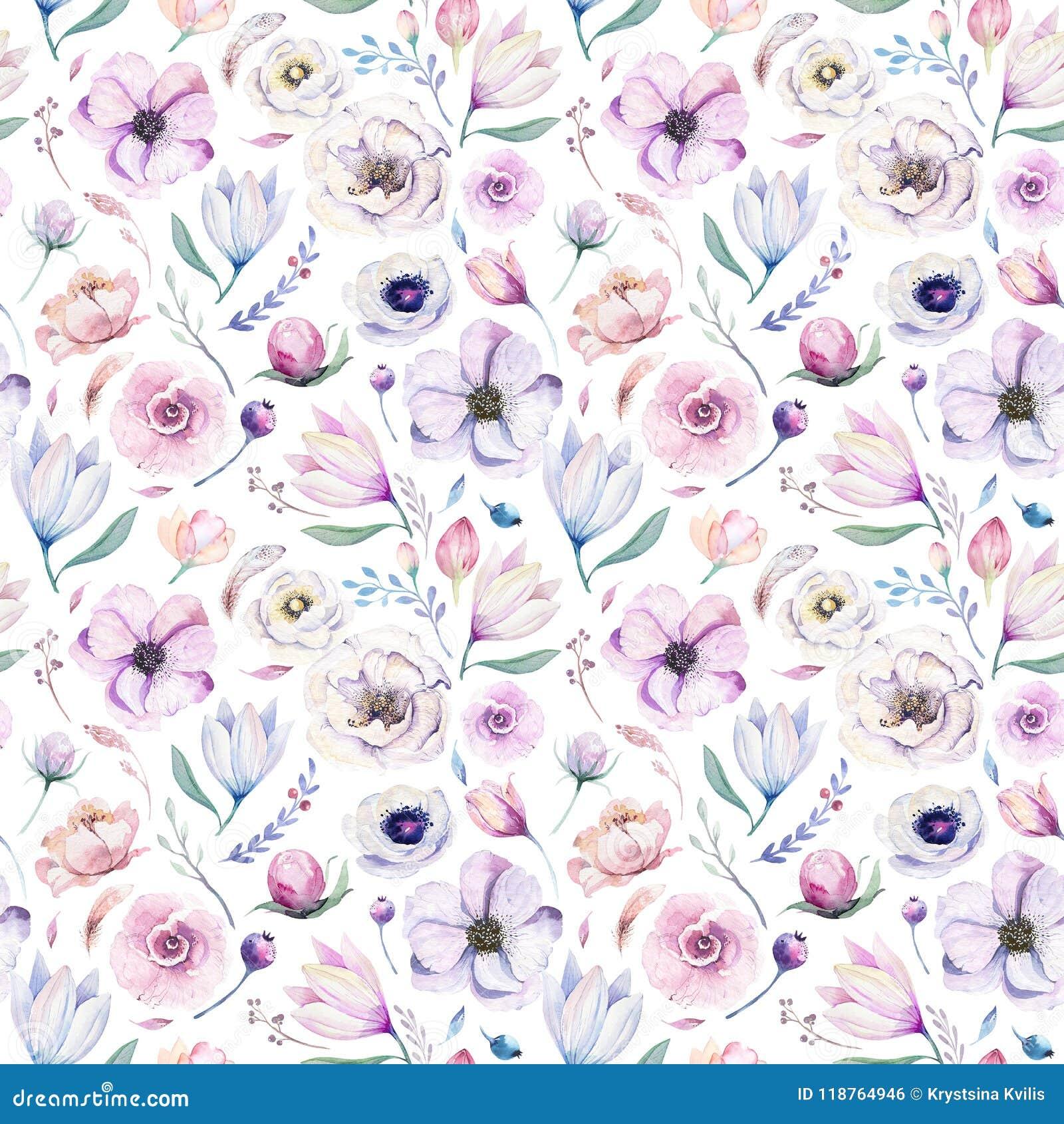 Цветочный узор акварели безшовной весны lilic на белой предпосылке Розовые и розовые цветки, украшение weddind