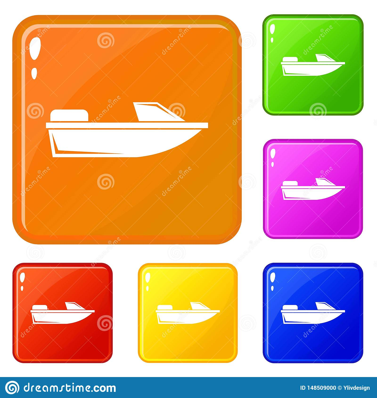 Цвет вектора значков powerboat спорт установленный
