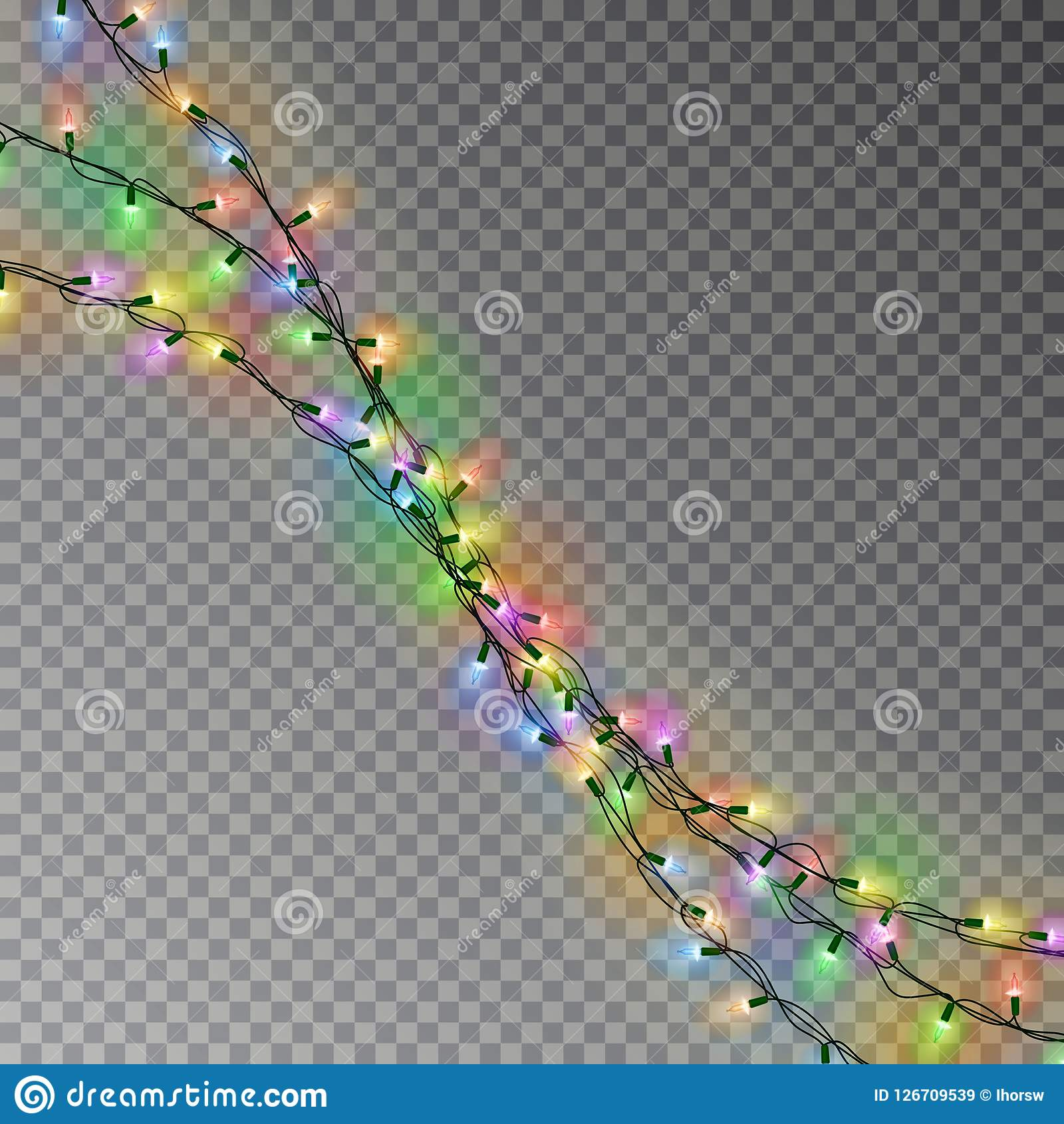 Цвет рождества освещает строку Прозрачное украшение влияния изолированное на темной предпосылке реалистическо