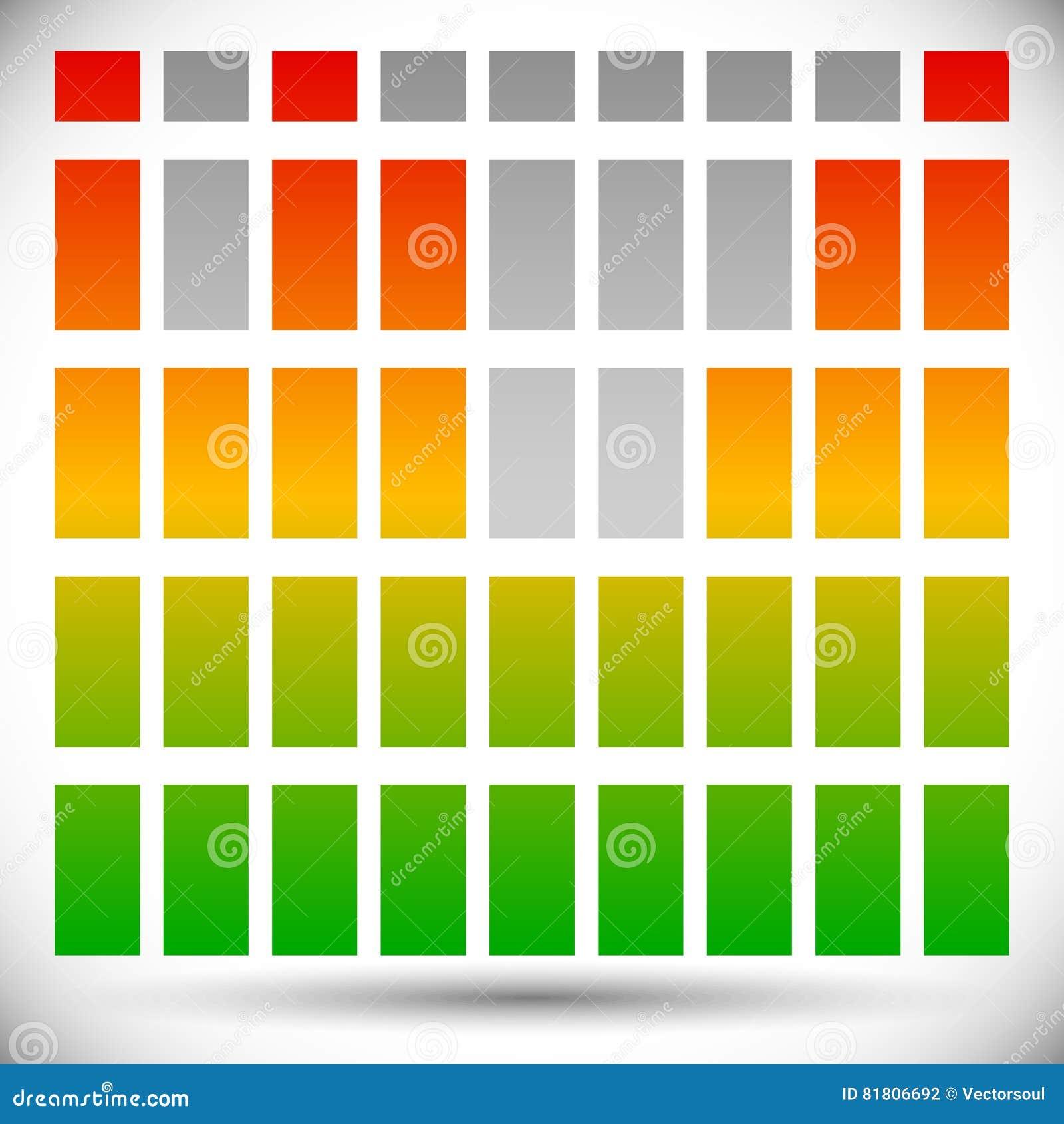 Цвет EQ спектра - бары прямоугольника шаблона выравнивателя