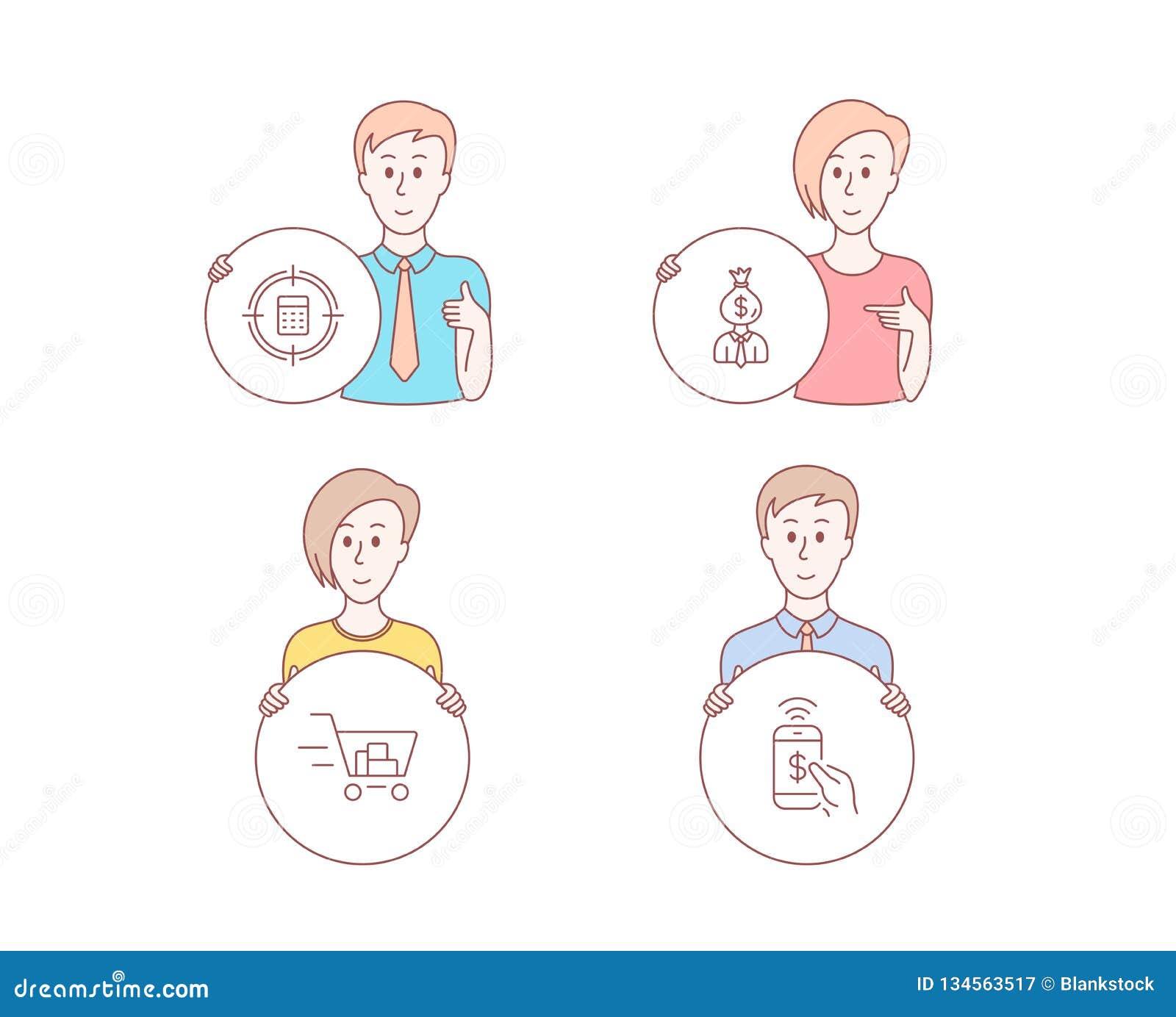 Цель калькулятора, магазинная тележкаа менеджера и значки Знак оплаты телефона Проверка, выгода работы, онлайн приобретение векто