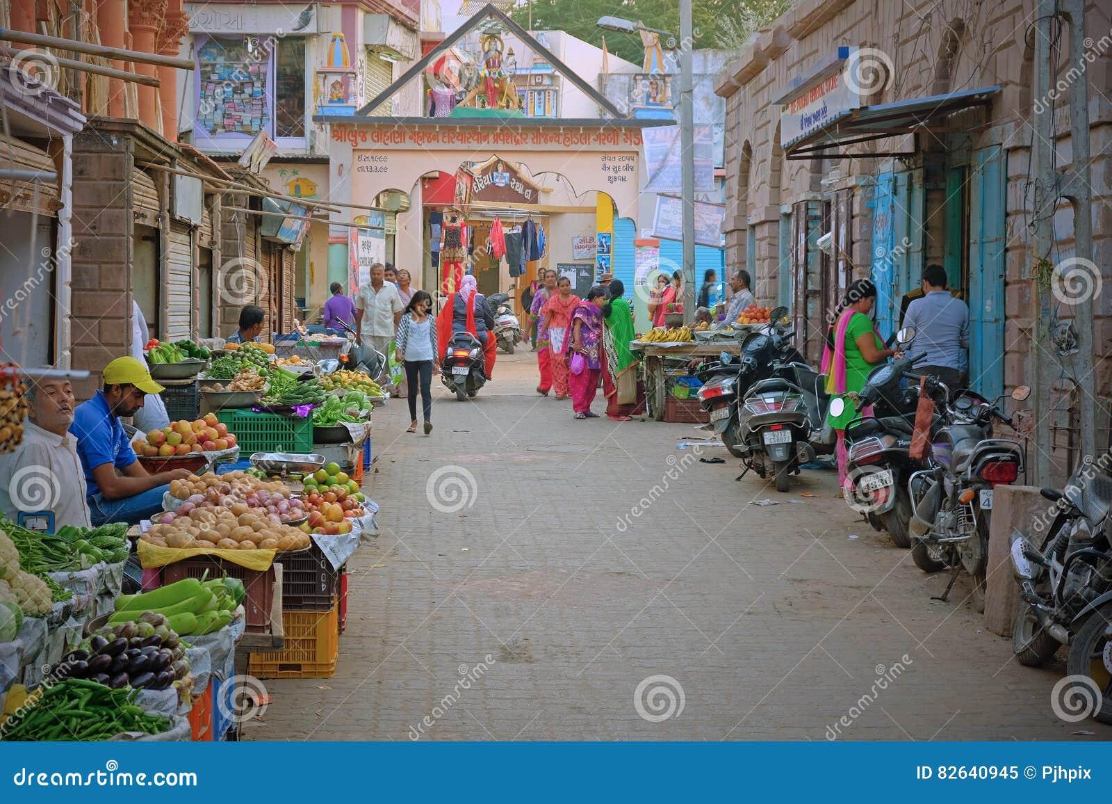 Центральное рыночное месте в Bhuj, Индии