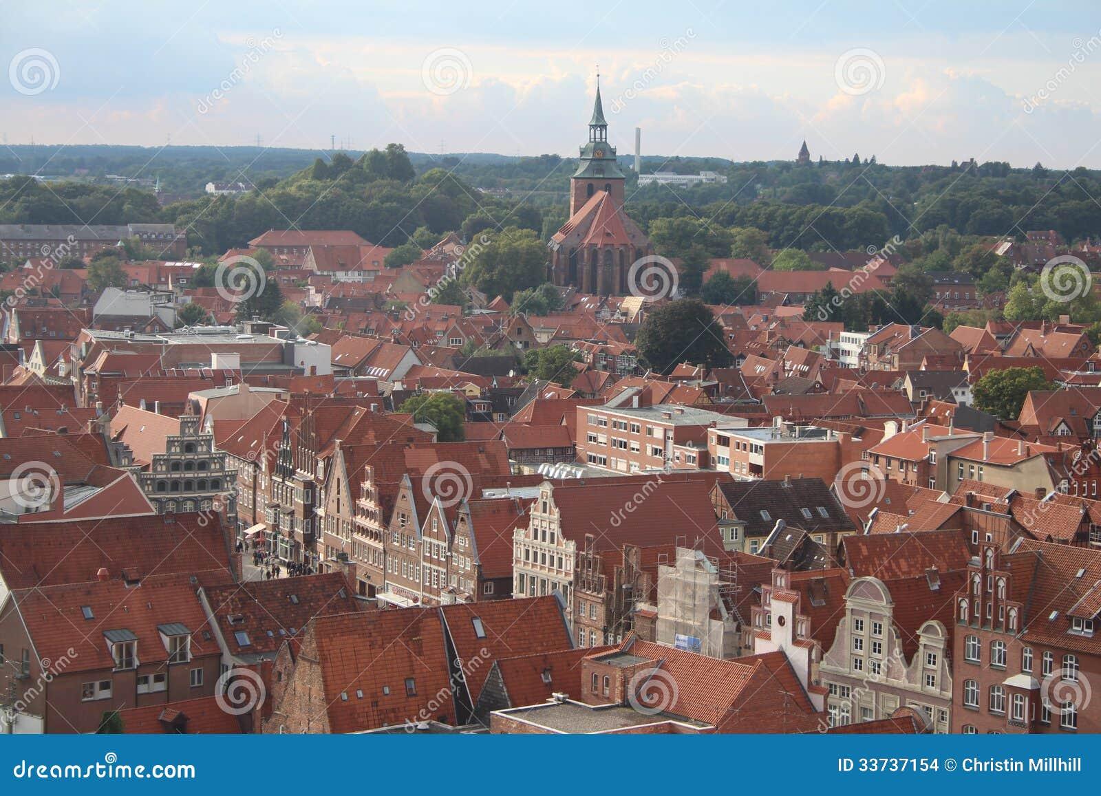Центр города сверху - Германия Lüneburg