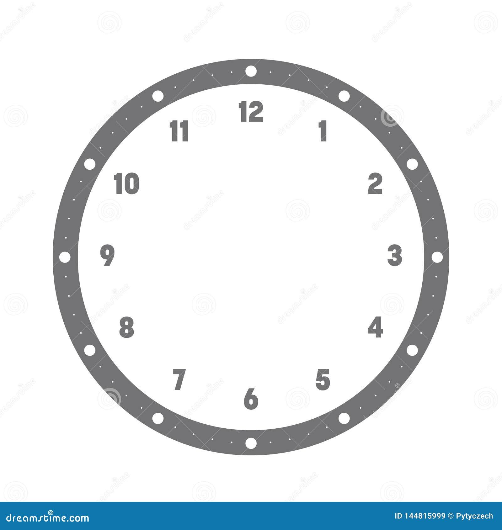 Циферблат Шкала часа с номерами Минуты и часы метки точек Простая плоская иллюстрация вектора