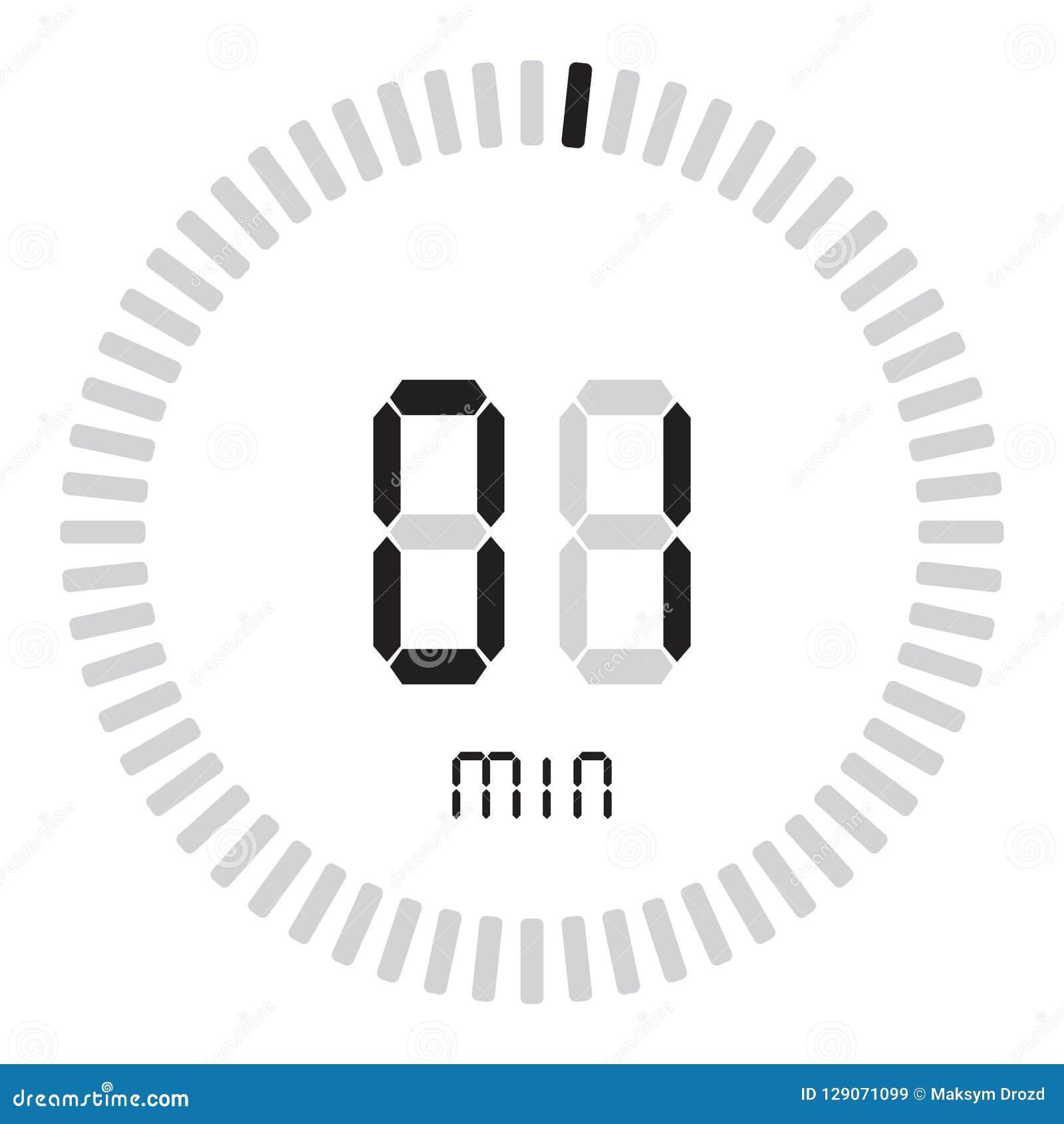 Цифровой таймер 1 минута электронный секундомер при шкала градиента начиная значок вектора, часы и вахту, таймер, комплекс предпу