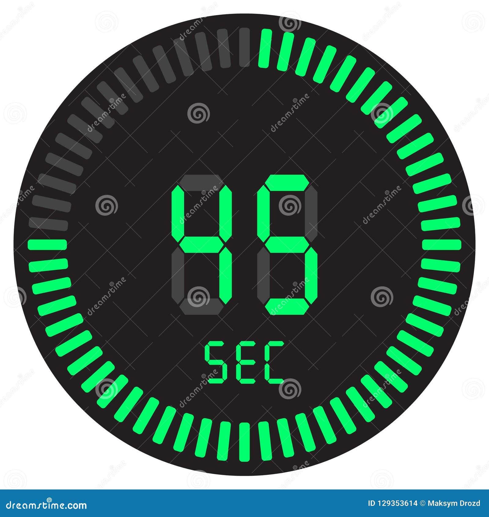 Цифровой таймер 45 секунд электронный секундомер при шкала градиента начиная значок вектора, часы и вахту, таймер, комплекс предп