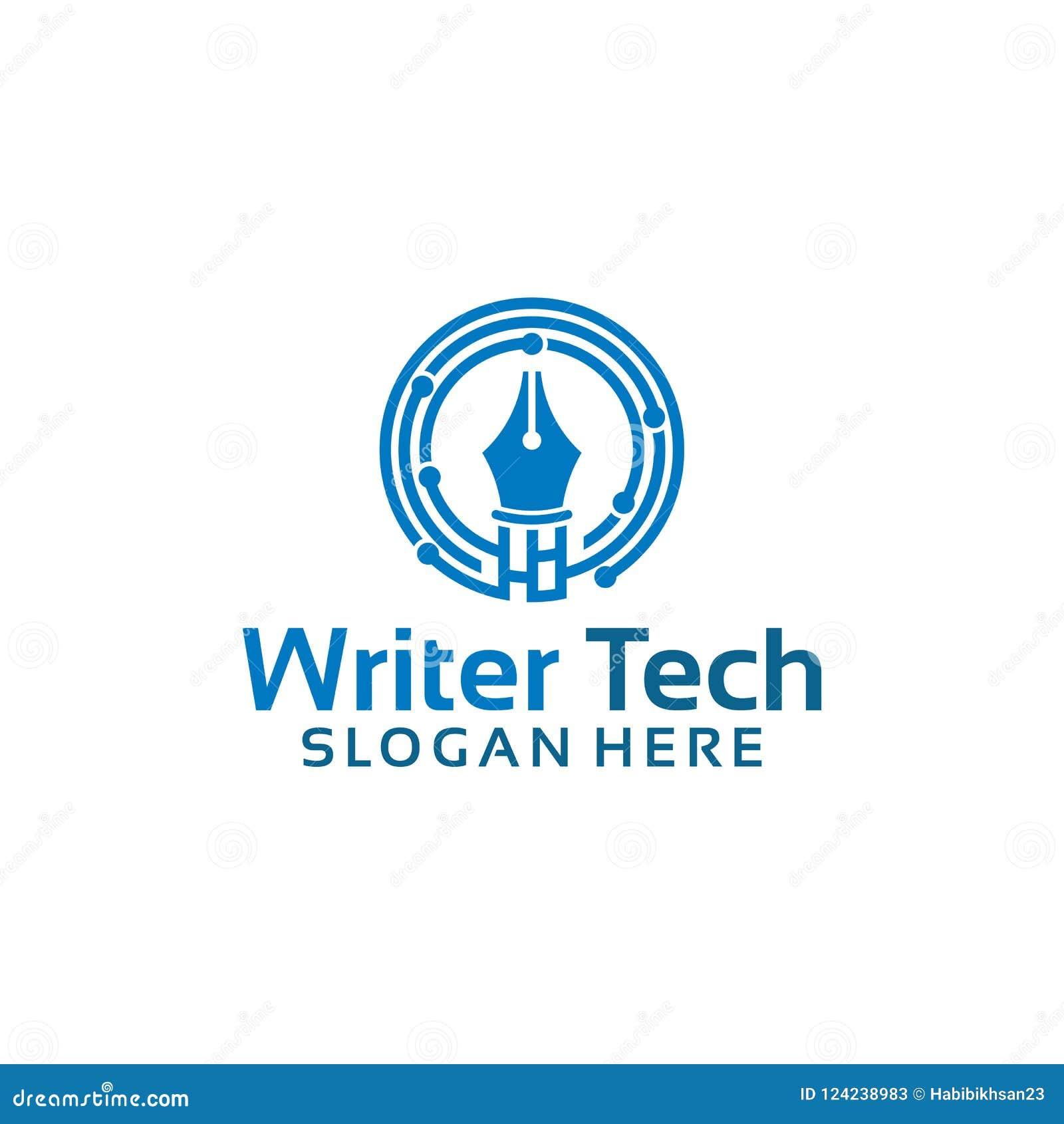 Цифров пишут шаблон логотипа, вектор дизайнов логотипа создателя технологии