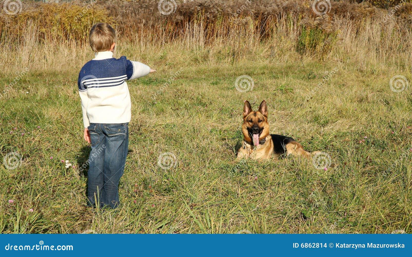 чабан большой собаки мальчика немецкий маленький