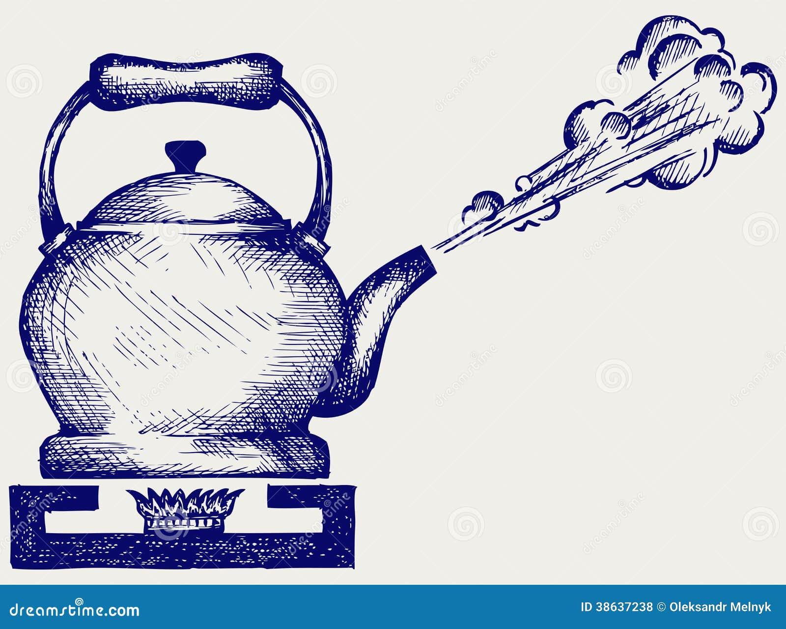 Пар из чайника рисунок