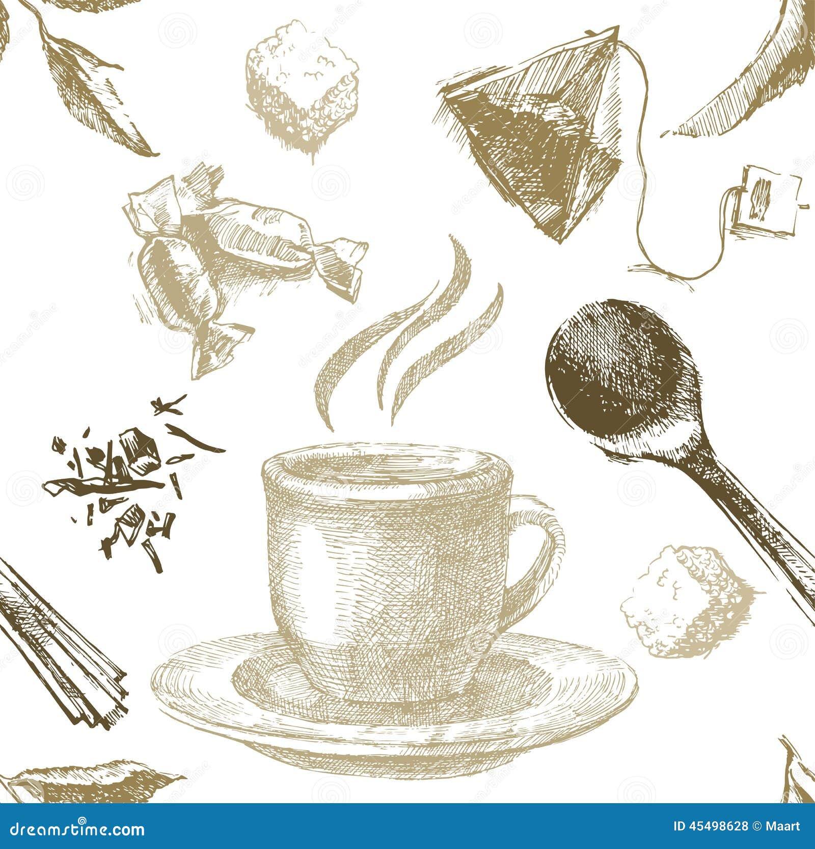 Чай нарисованный рукой безшовный
