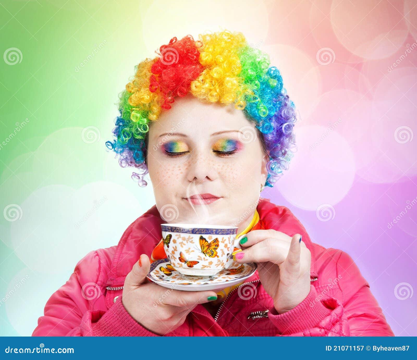 чай радуги чашки клоуна