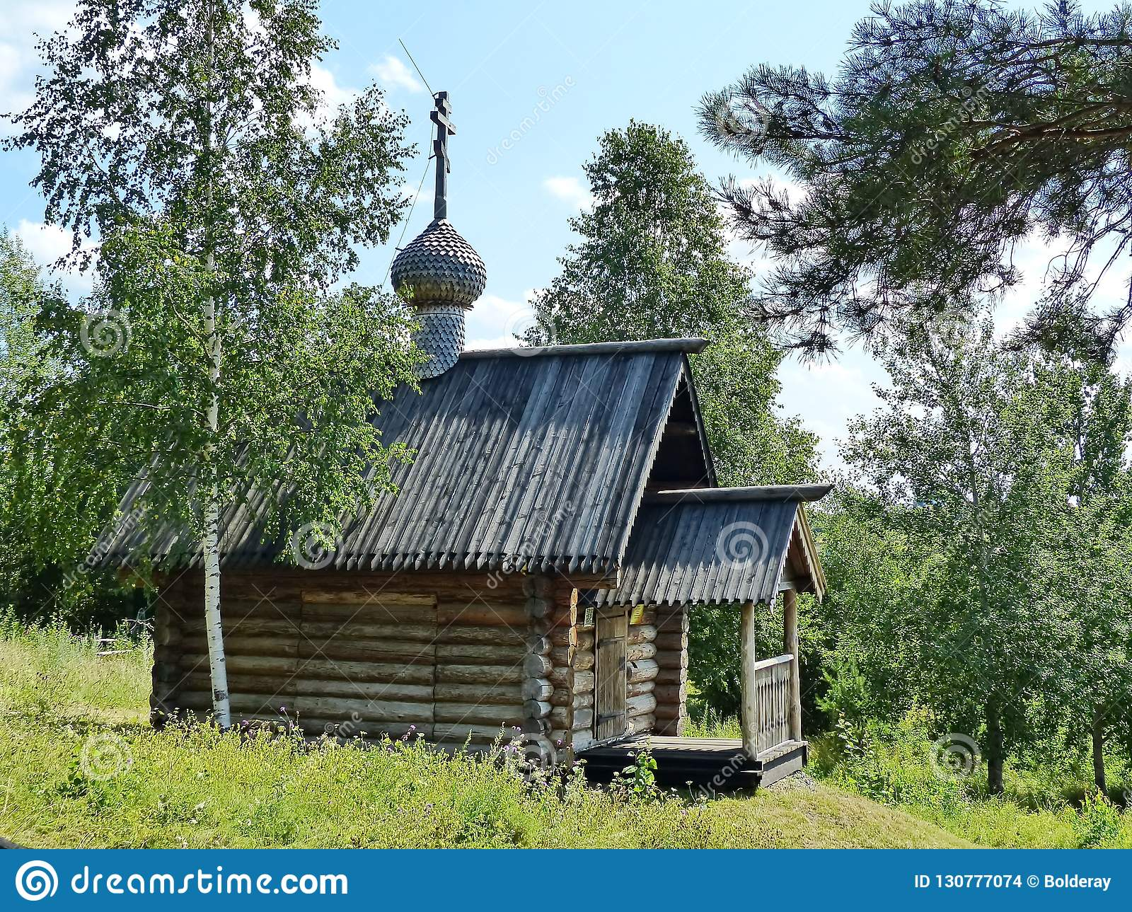 Часовня StIlija столетие XVIII-th пророка Nizhnyaya Sinyachikha Деревянная архитектура Россия