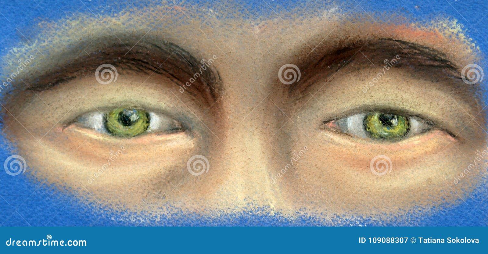 Часть стороны - 2 зеленых глаза