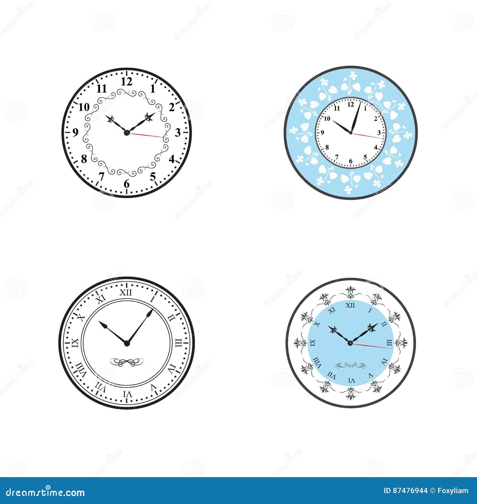 Часы; Вектор значка часов установленный