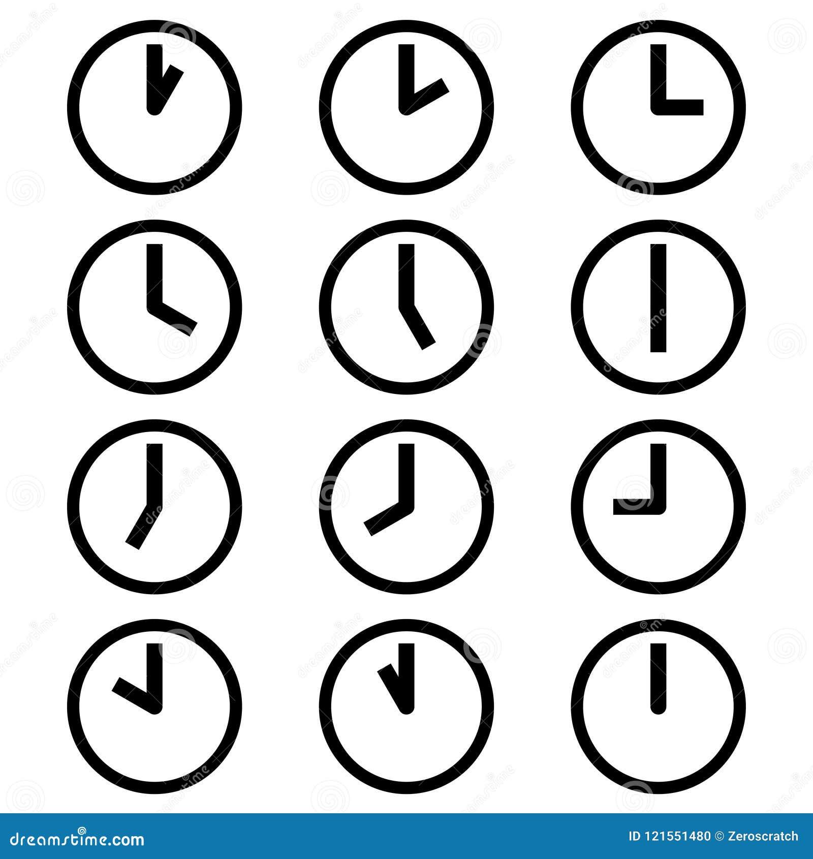 Часы показывая различные значки символов часов времени подписывают логотипы простой черно-белый покрашенный комплект