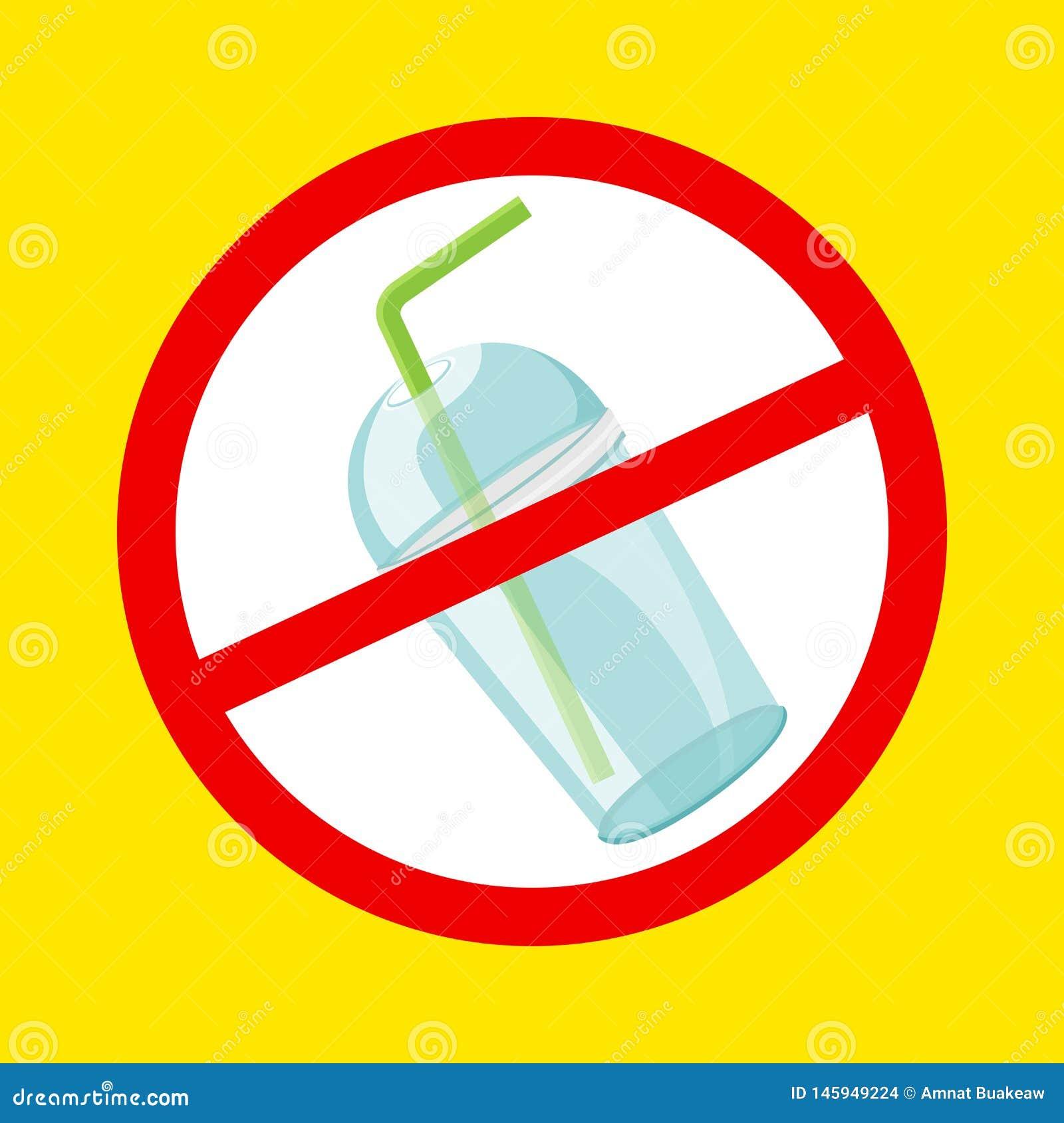 Чашка и соломы стопа предупредительного знака пластиковые расточительствуют изолированную желтую предпосылку, отход запрета пласт