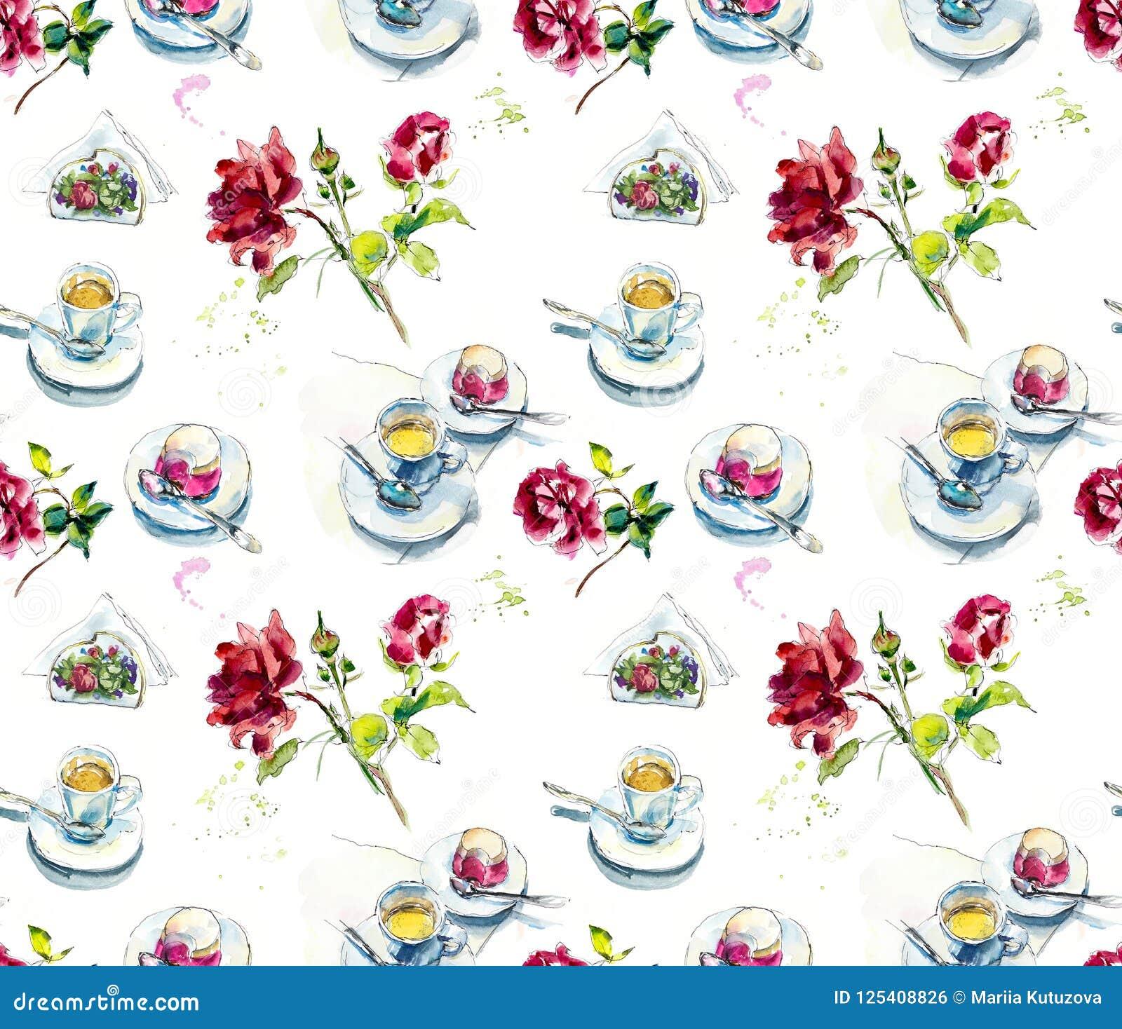 Чашка кофе, торт поленики на кафе и розы Иллюстрация акварели handpainted эскиз