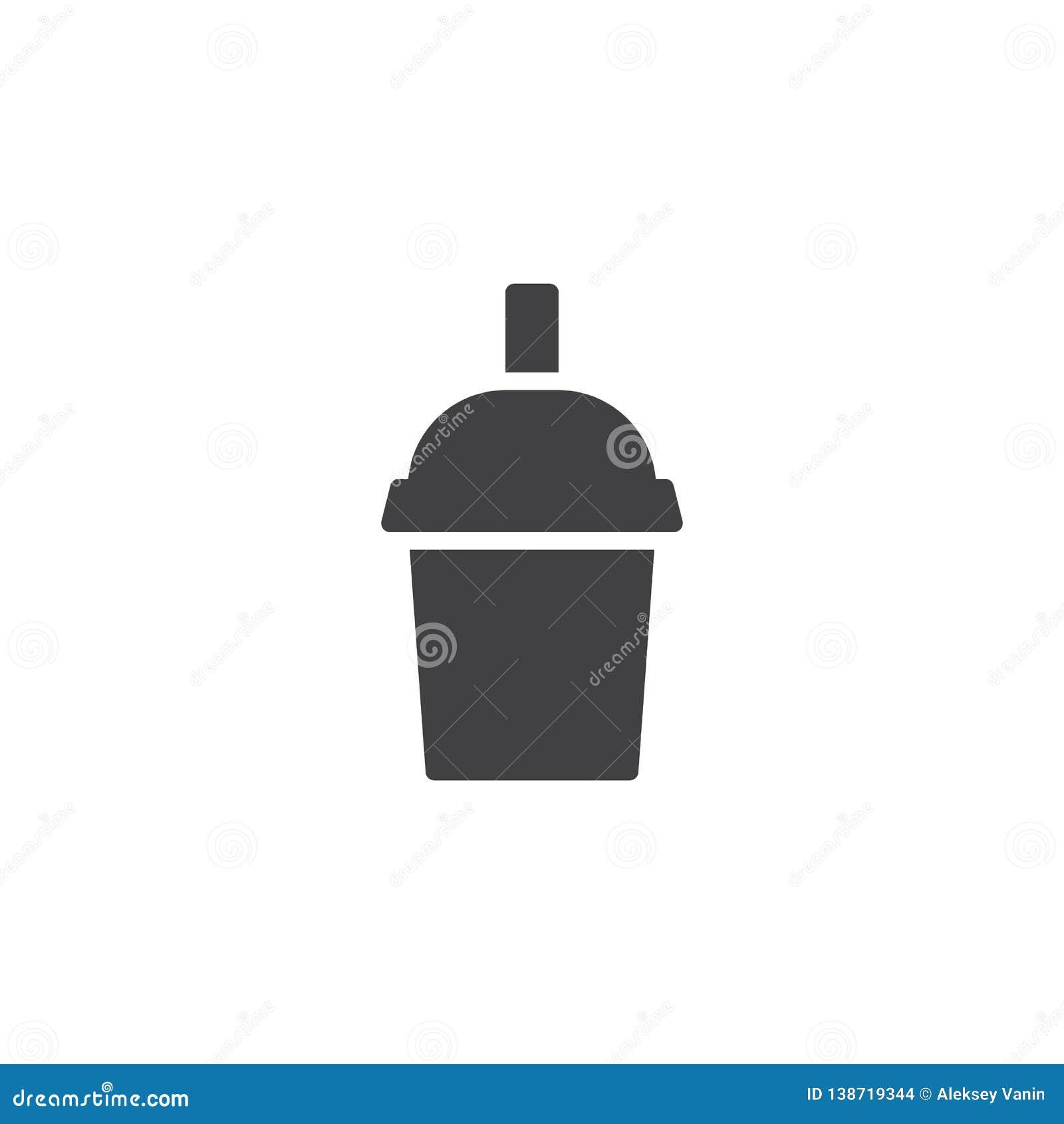 Чашка молочного коктейля со значком вектора соломы