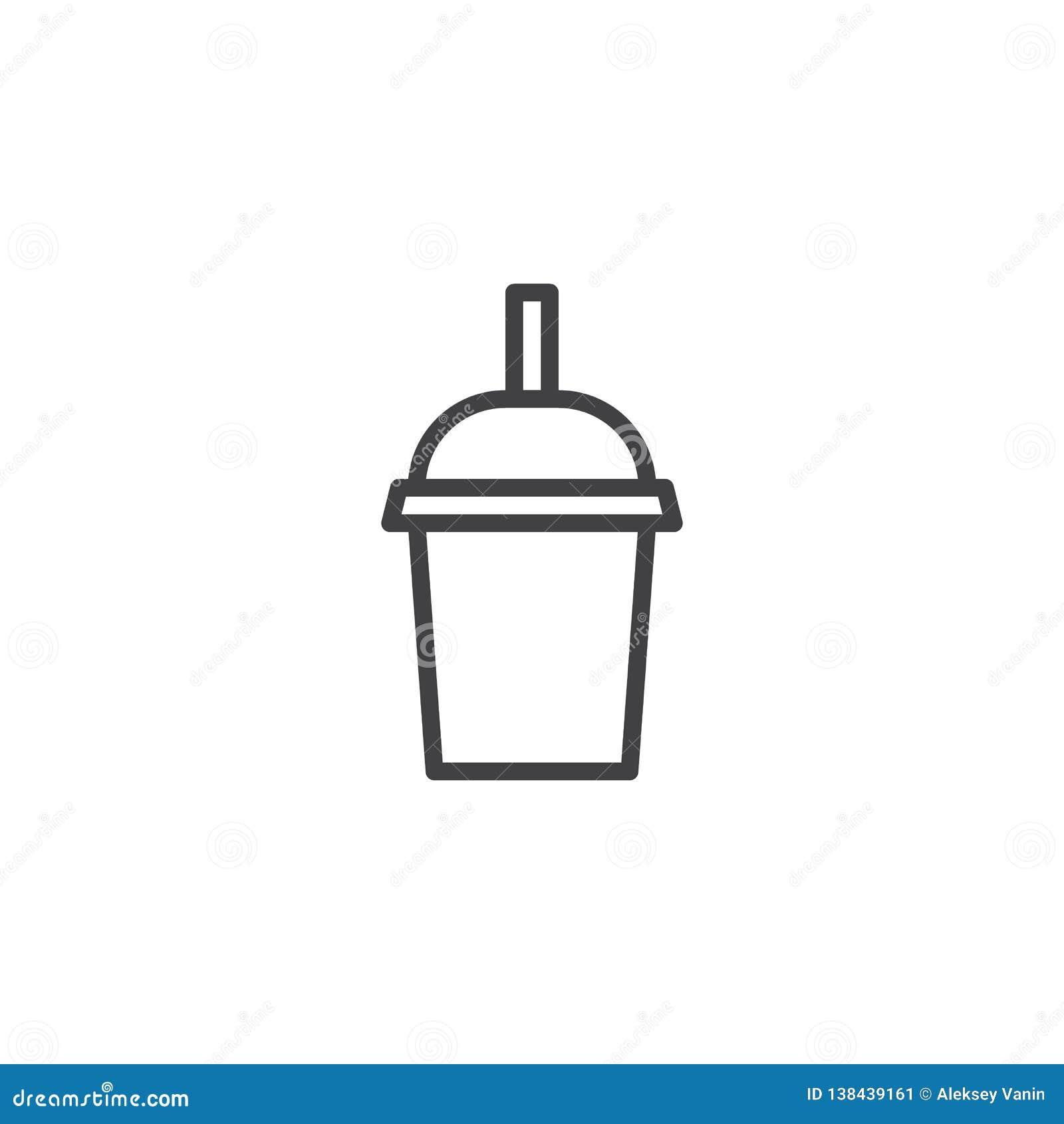 Чашка молочного коктейля с линией значком соломы
