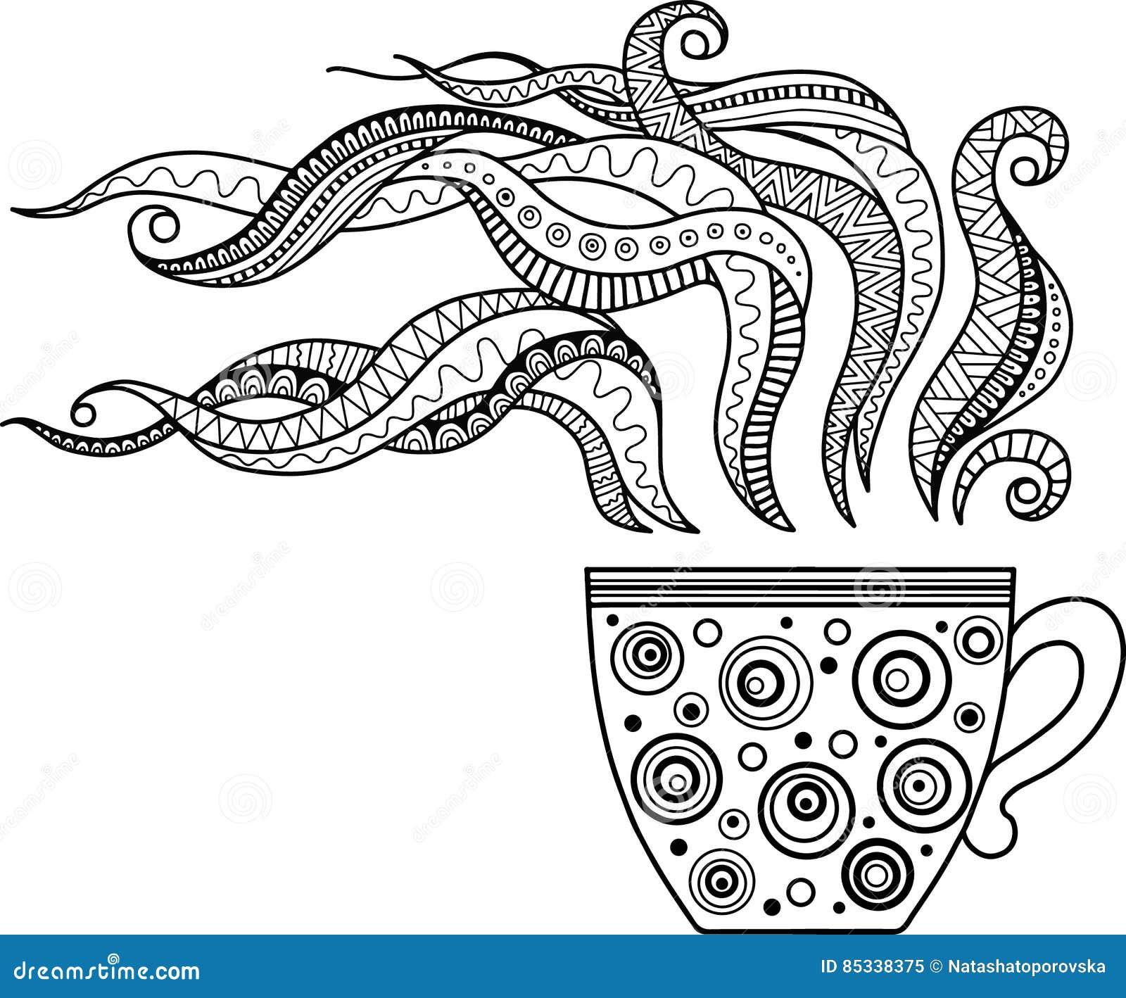 чашка травяного чая и кофе на хороший день книжка раскраска