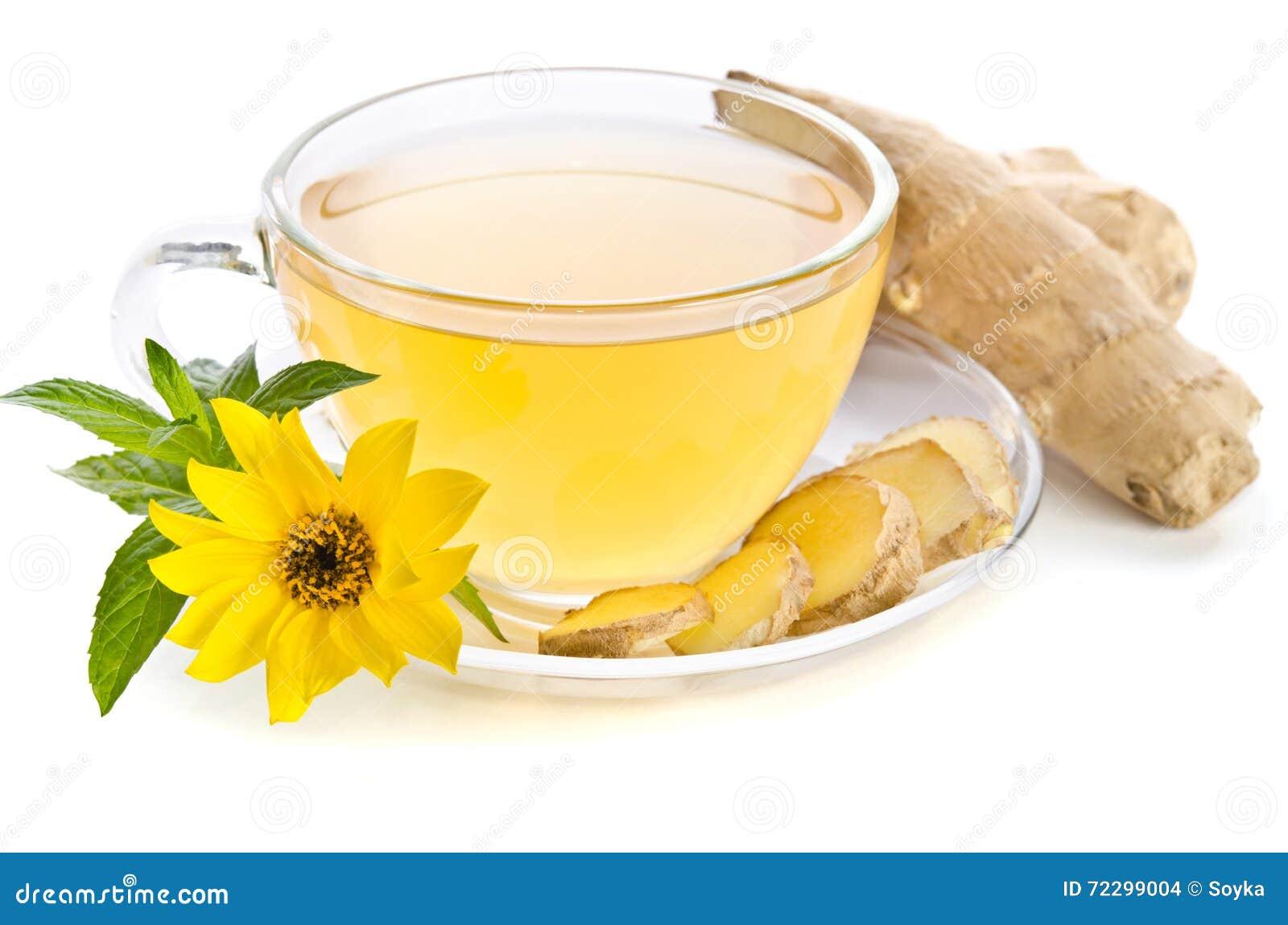 Чашка чаю с кусками имбиря и цветком эхинацеи