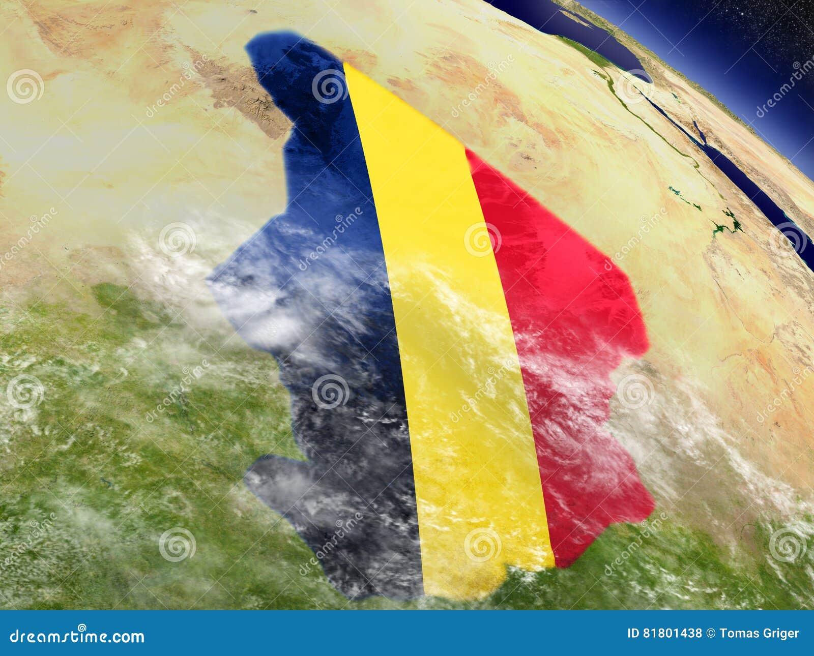 Чад с врезанным флагом на земле