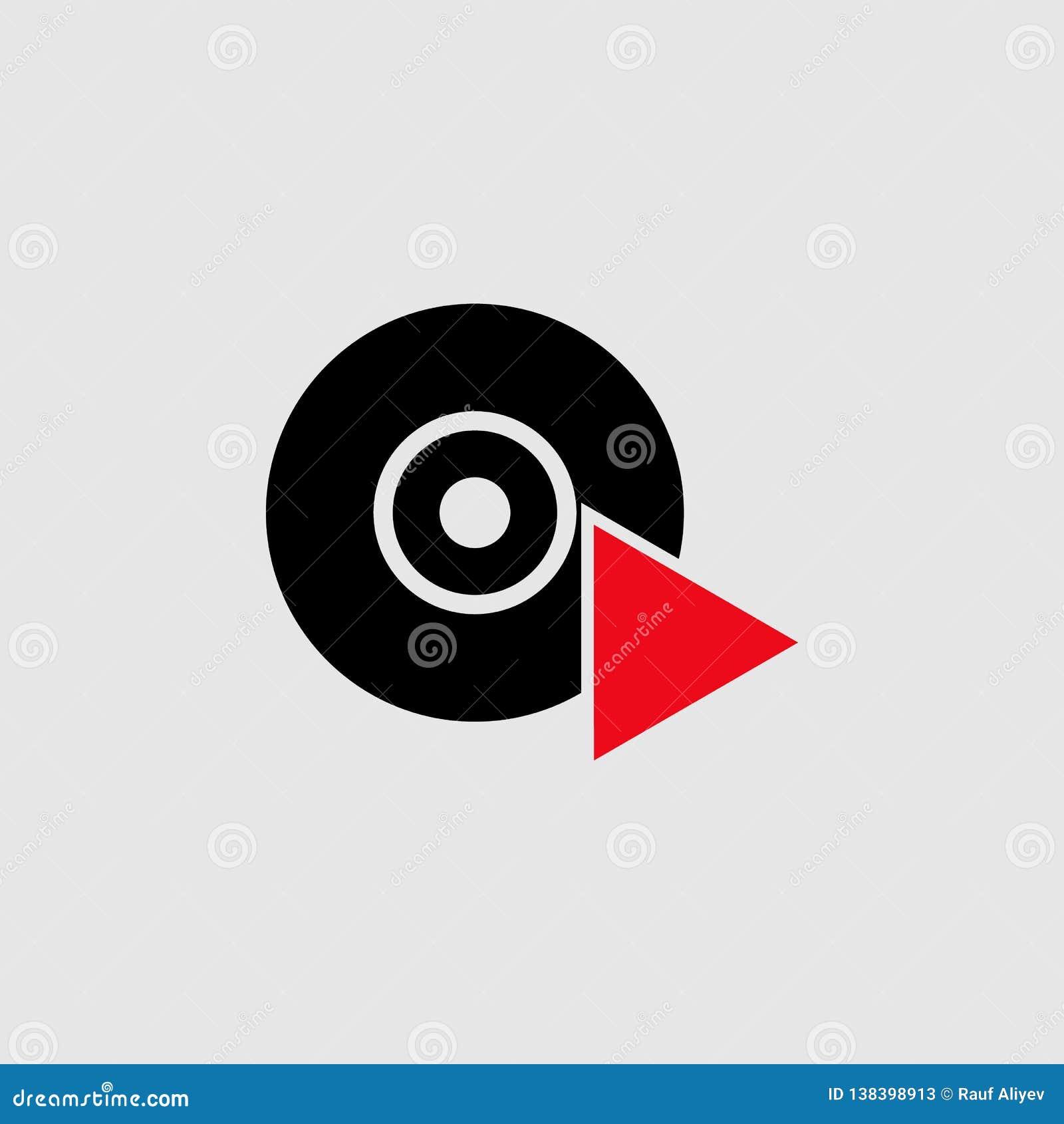 Чд-плеер со значком треугольника Элемент значка театра для мобильных приложений концепции и сети Детализированный чд-плеер со зна