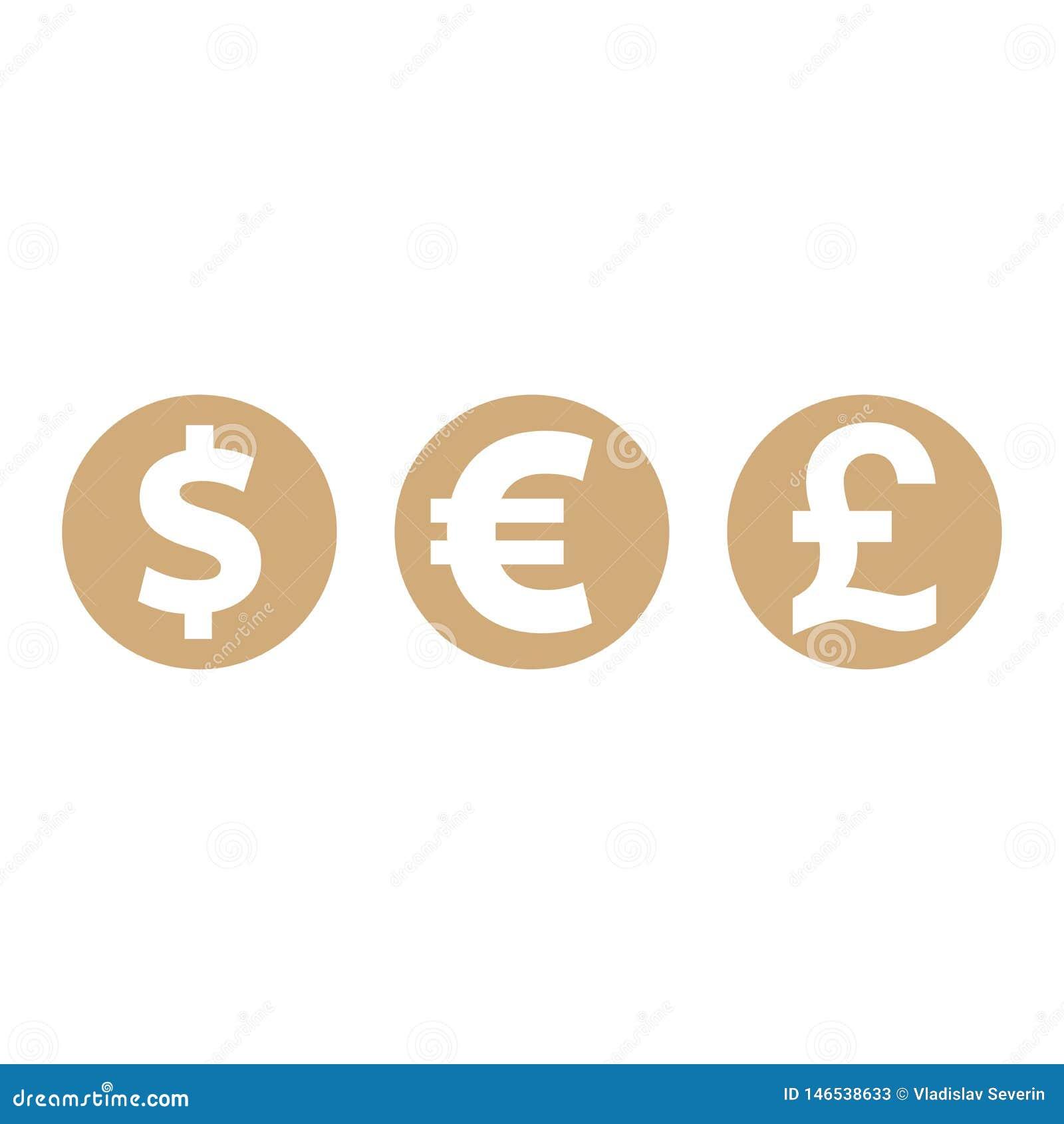 Чеканит доллар, евро, фунт стерлингов, символы валюты, иллюстрацию вектора финансов