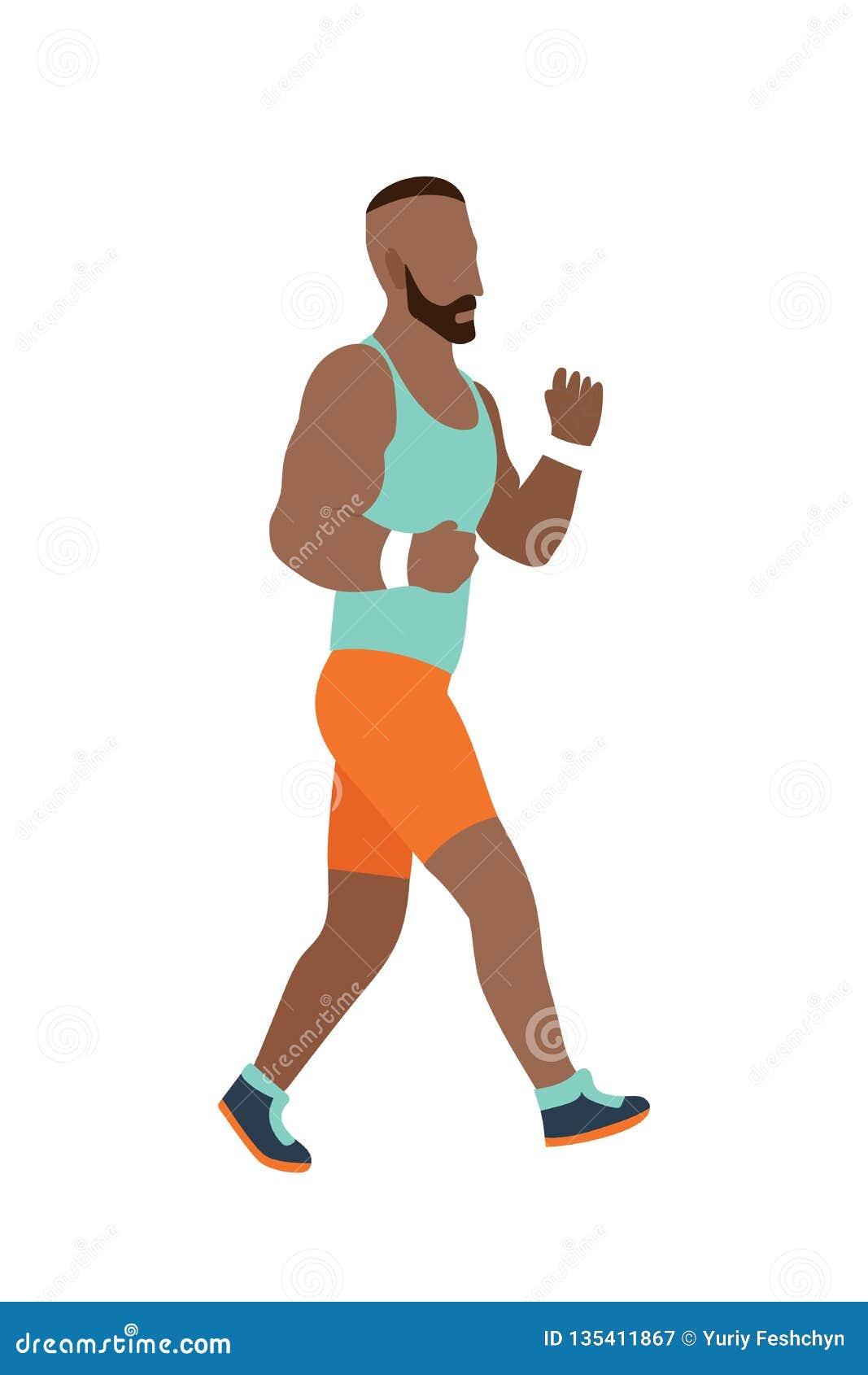 Человек вектора идущий в плоском стиле дизайна Спорт Бег активная пригодность
