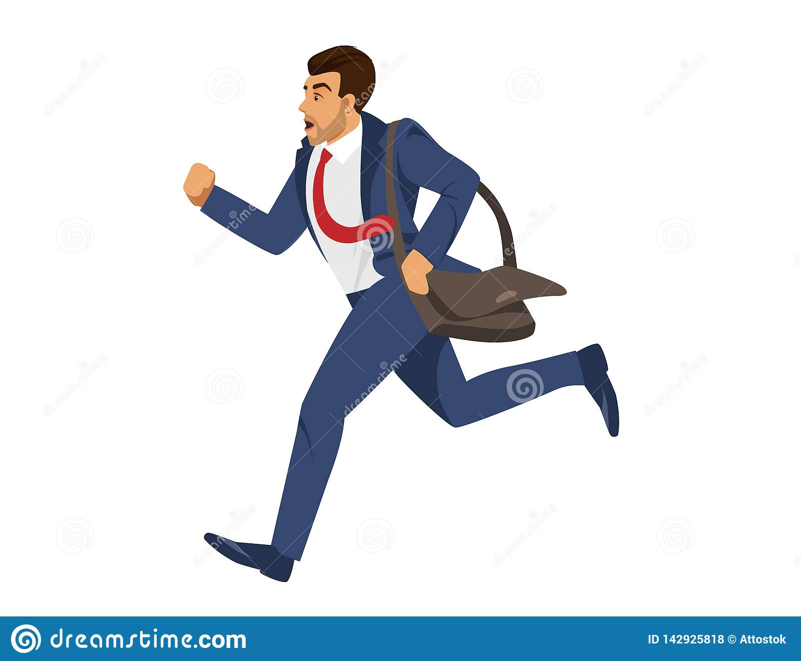 Человек в голубом официальном беге костюма на белой предпосылке