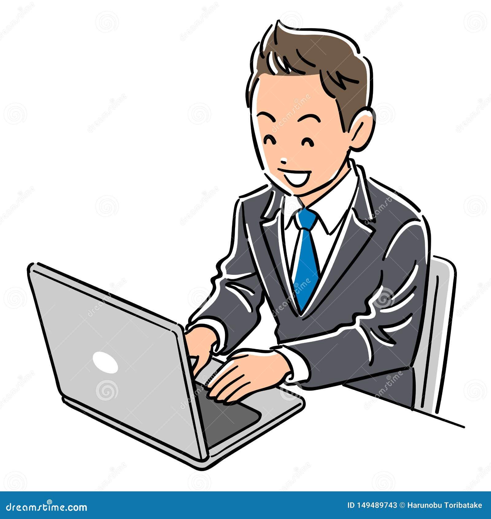 Человек в костюме который приводится в действие улыбки ноутбука