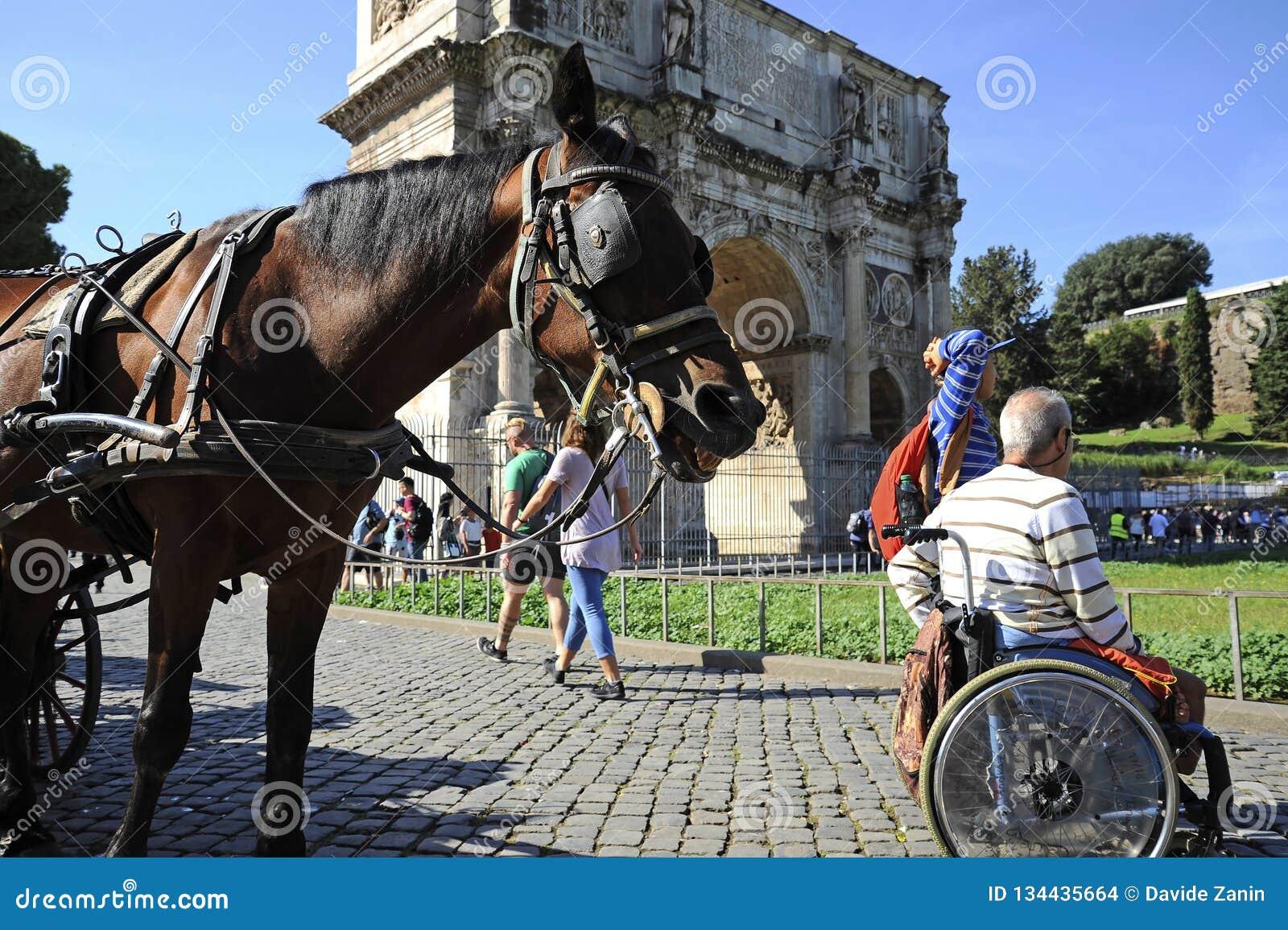 Человек в кресло-коляске наслаждаясь outdoors римскими каникулами На предпосылке свод