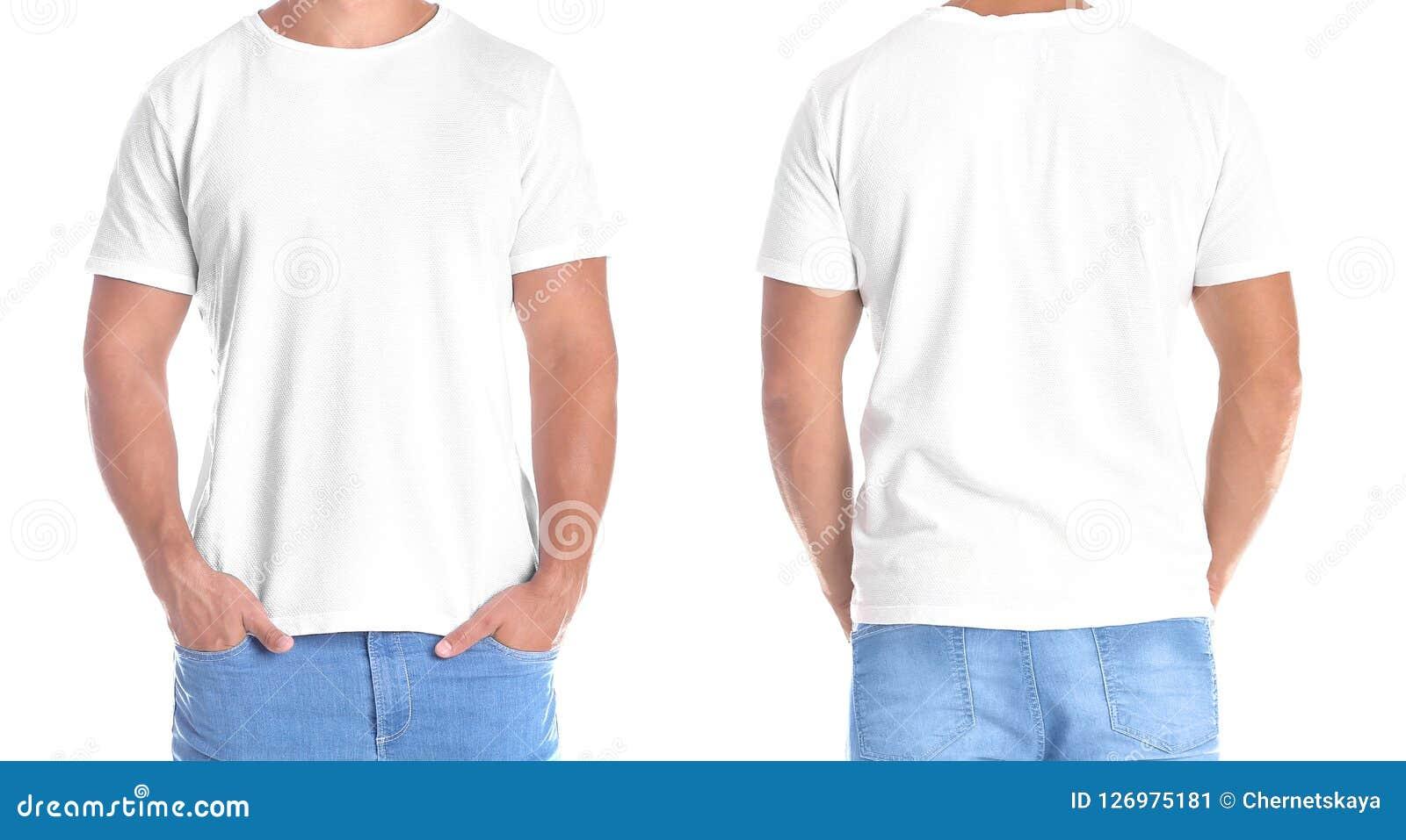 Человек в пустой футболке на белой предпосылке, фронте и задних взглядах
