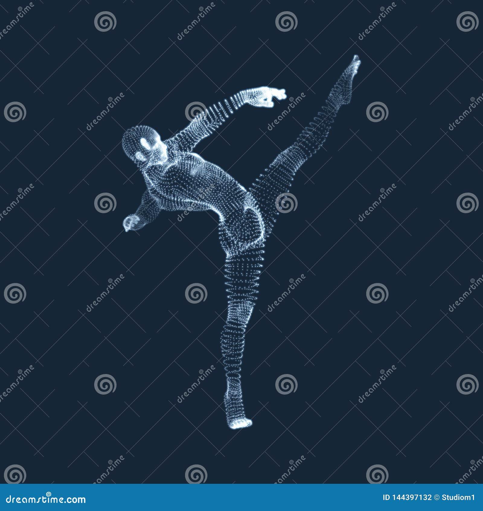 Человек гимнаста модель человеческого тела 3D Векторные графики составленные частиц