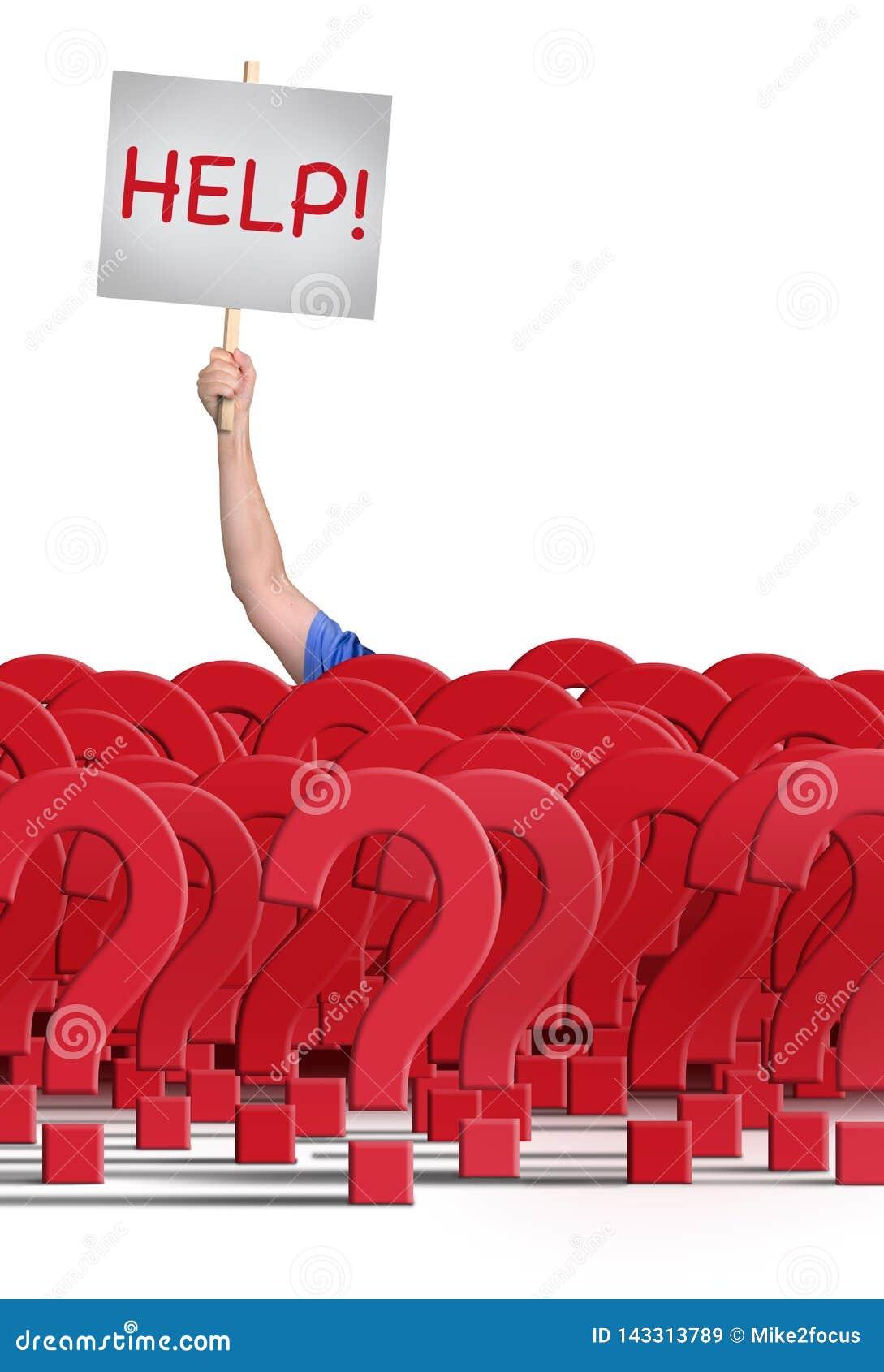 Человек держа ПОМОЩЬ! знак за огромной стеной вопросительных знаков