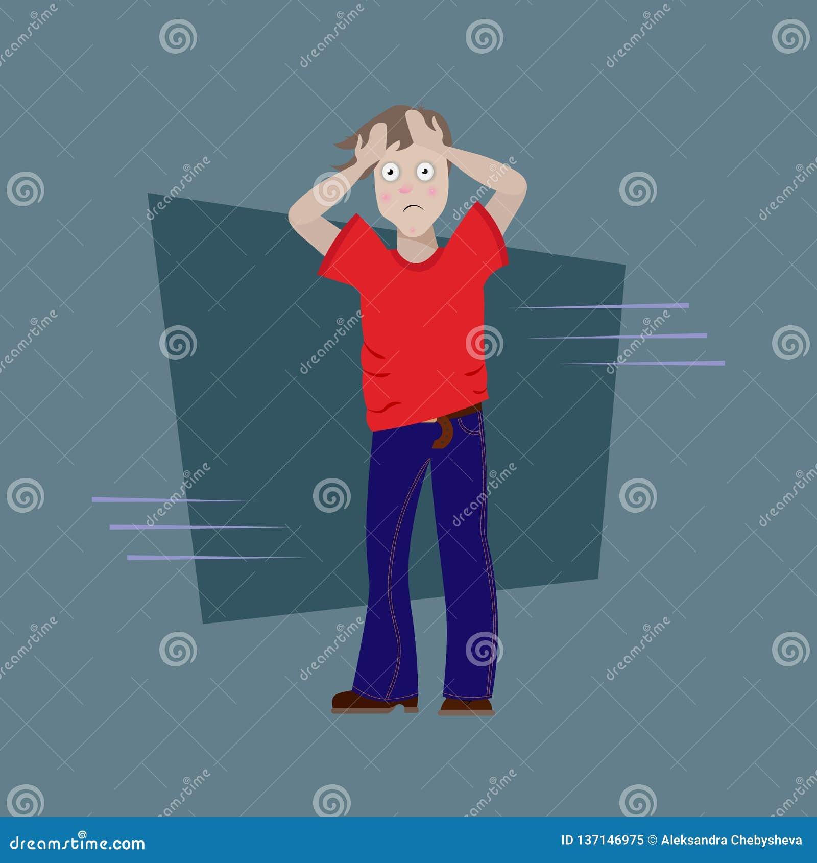 Человек имел досаду сярприз неприятный Создал программу-оболочку его голова в его руках уставший, больной, вспугнутый человек с т