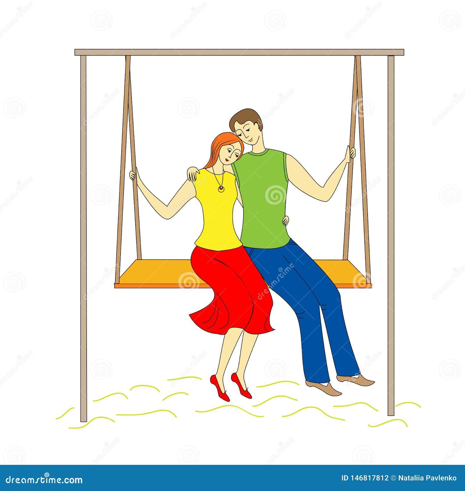 Человек и девушка пар молодой отбрасывая на качании Счастливая любовь r