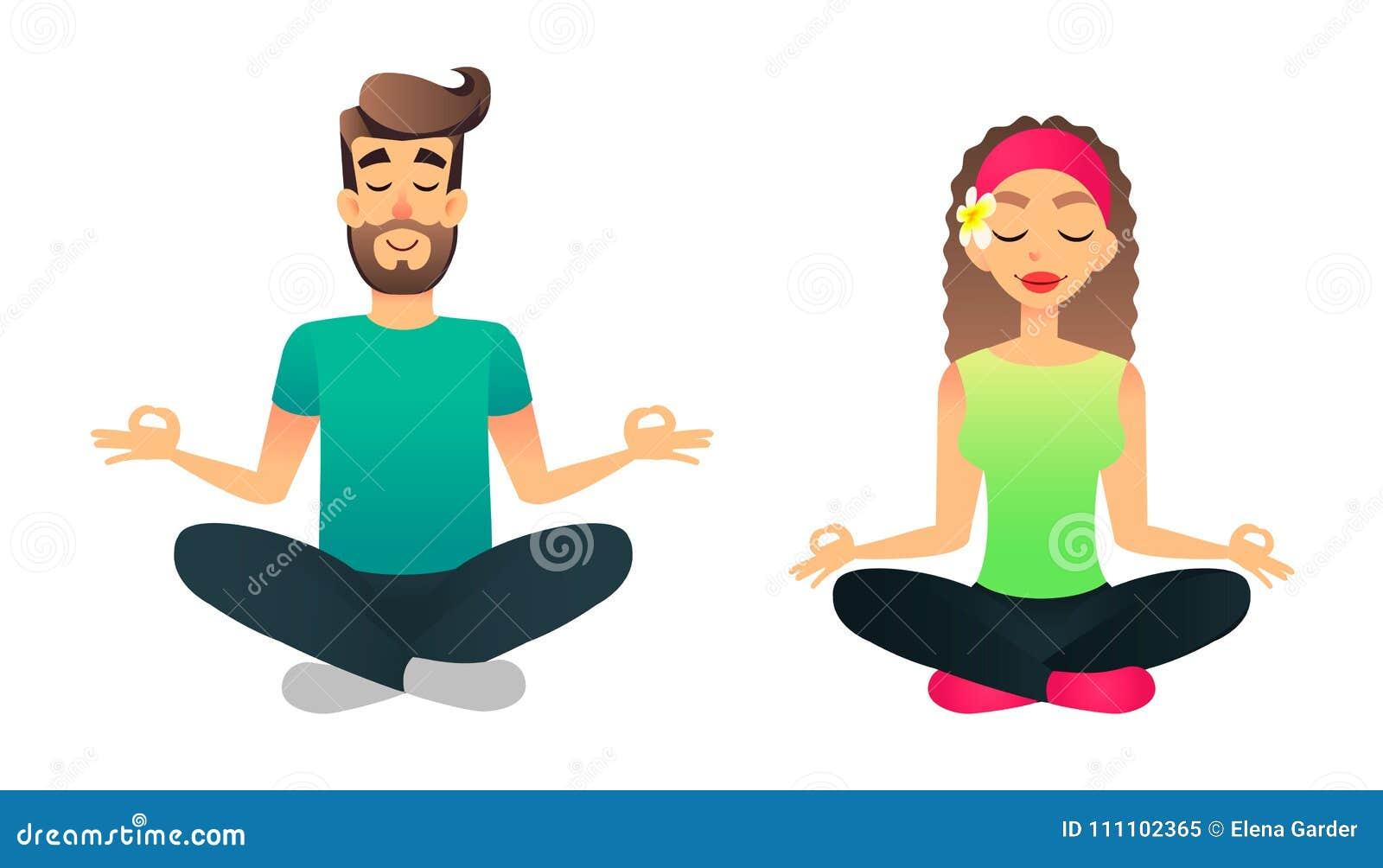 Человек и женщина размышляют в представлении лотоса Урок йоги пар шаржа счастливый пожененный практикуя Молодые люди делая asane