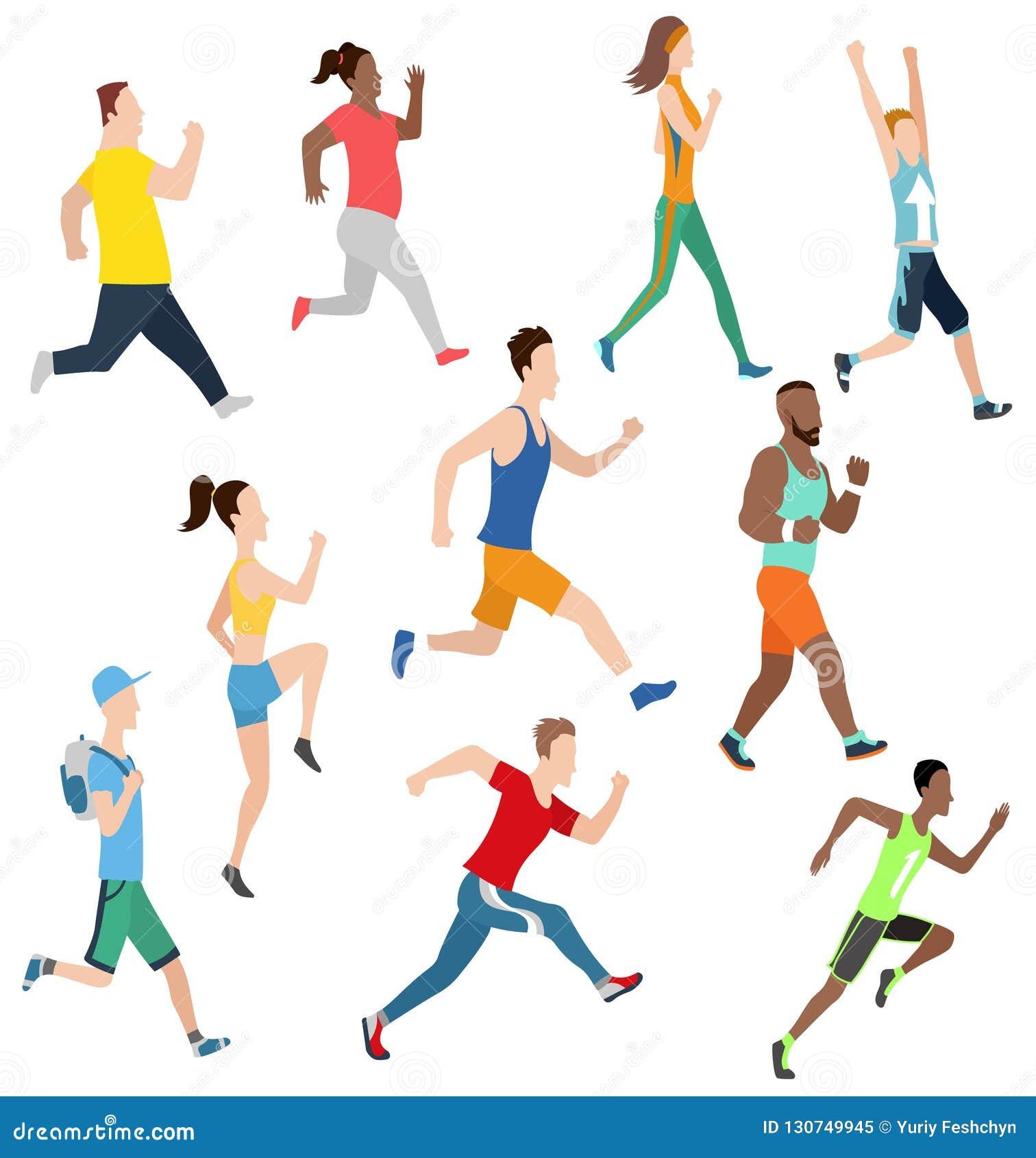 Человек и женщины вектора идущие в плоском стиле дизайна Спорт Бег активная пригодность