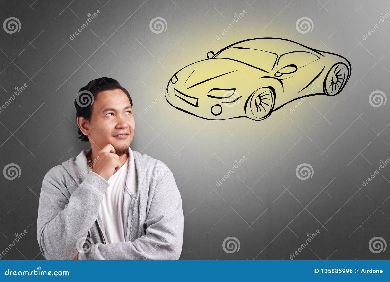 Человек мечтая автомобиля спорт