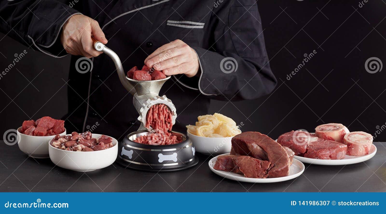 Человек подготавливая здоровое сырое мясо для собачьей еды barf