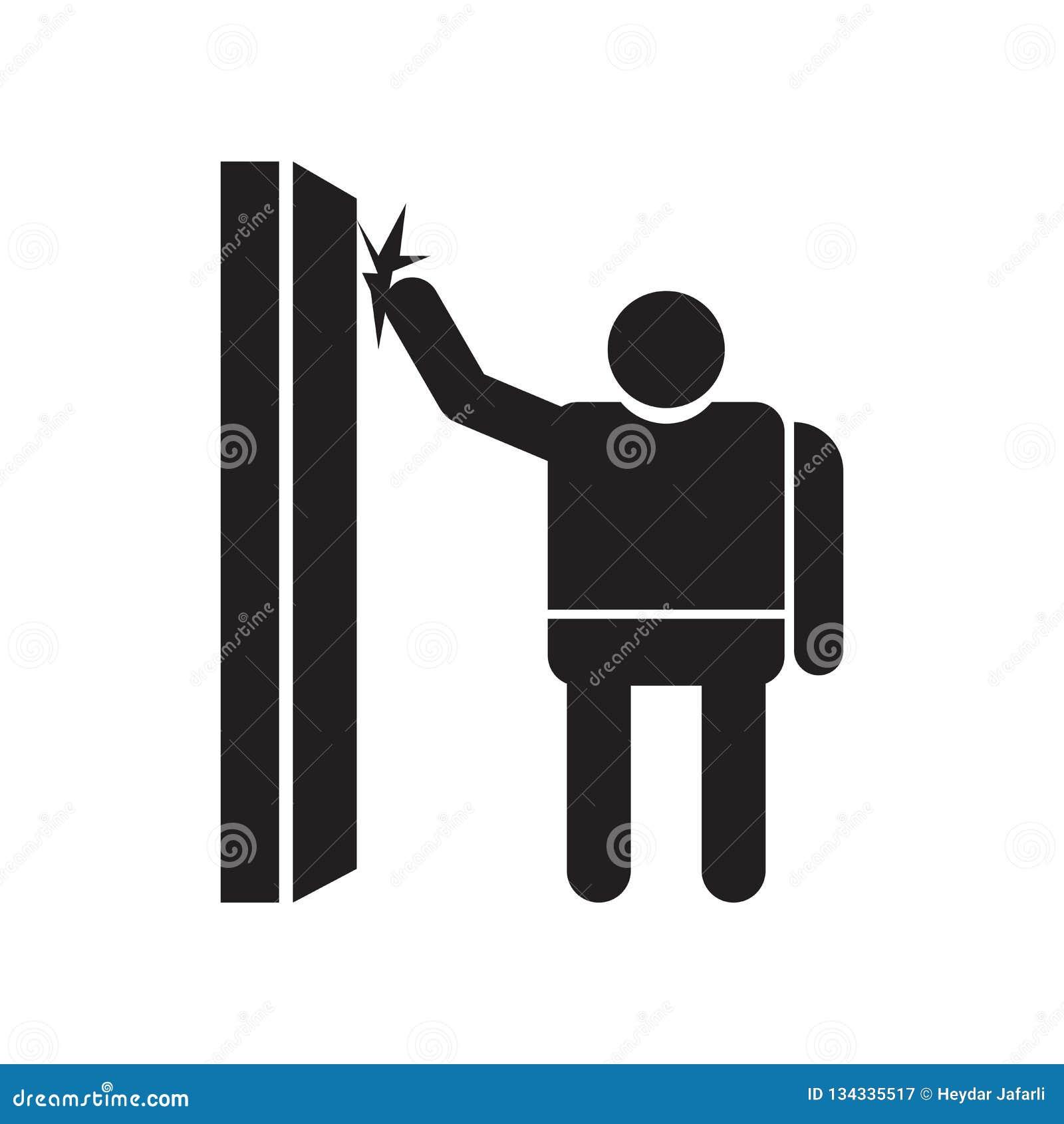 Человек стучая знаком и символом вектора значка двери изолированными на белой предпосылке, человеке стучая концепцией логотипа дв