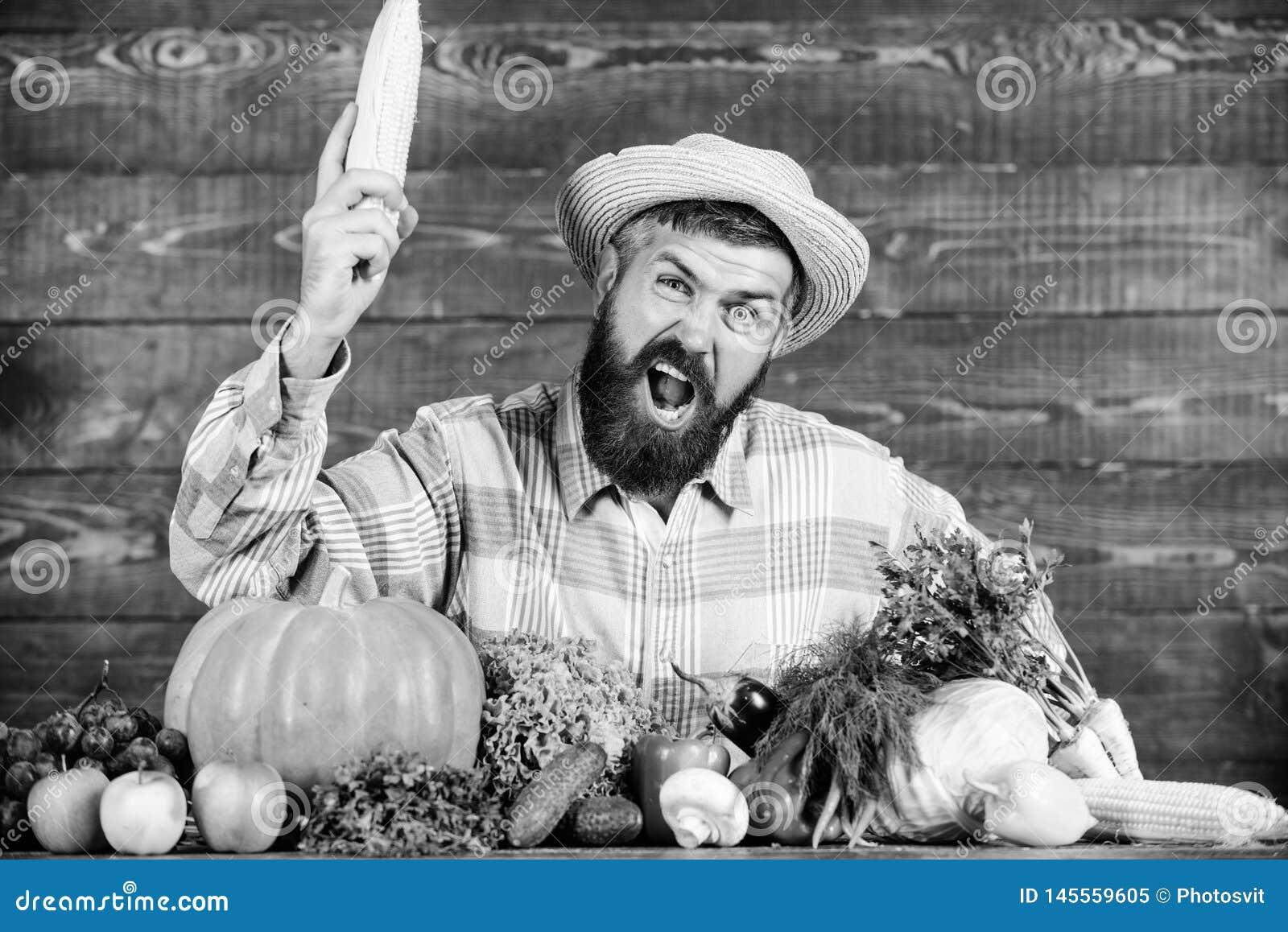 Человек с предпосылкой бороды деревянной Стали органический фермер Фермер с органическими доморощенными овощами Вырастите органич