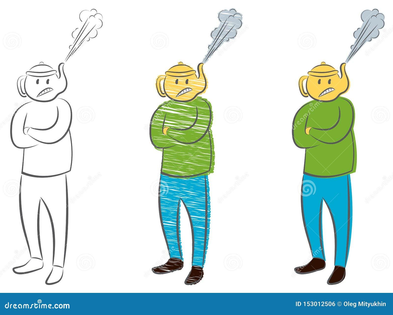 Человек с чайником вместо головы с паром вытягиванным вне Концепция гнева Сердитый бизнесмен менеджера босса
