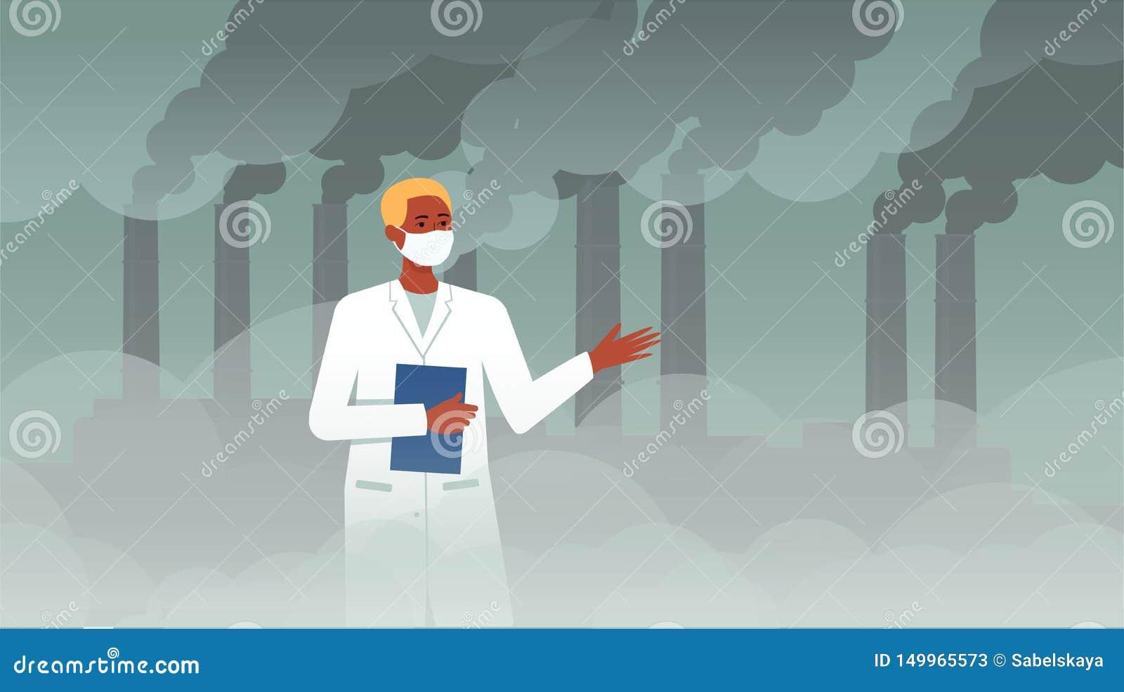 Человек ученого перед химикатом plat с дымом трубы обсуждая экологичность и загрязнение воздуха